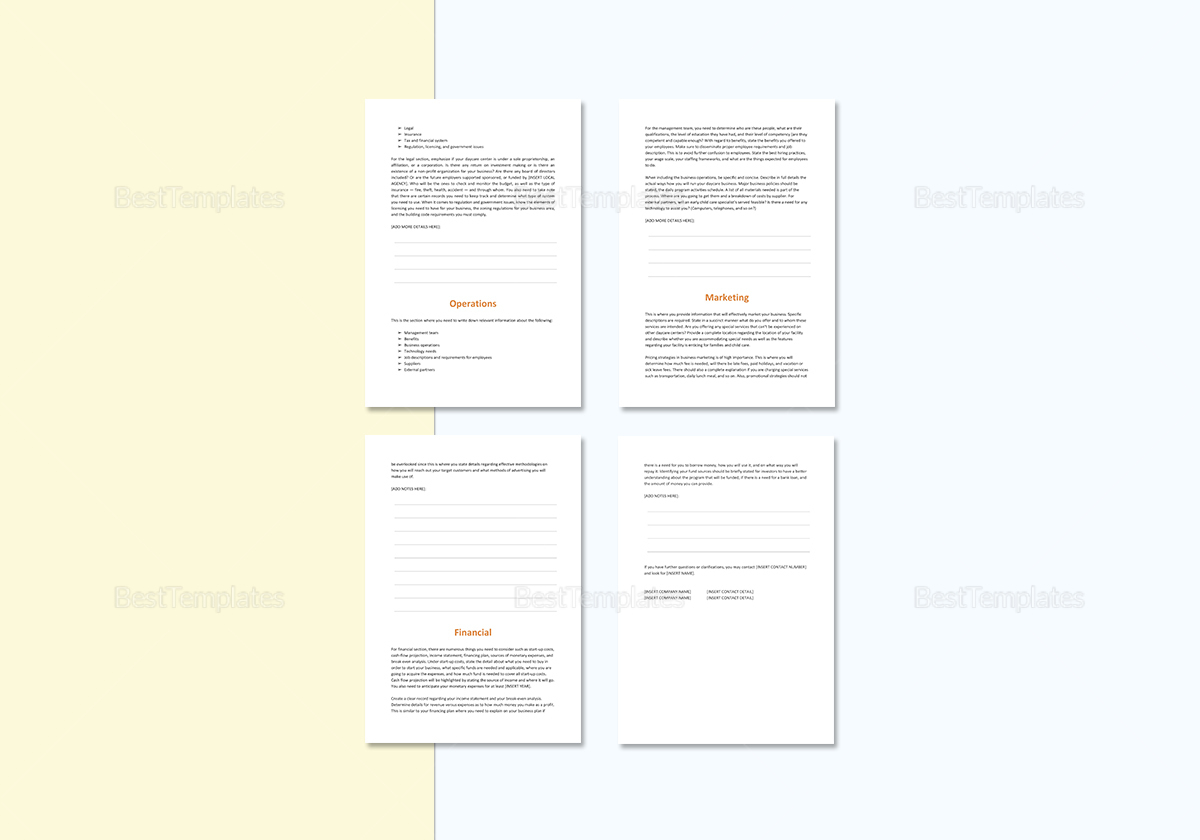 Daycare business plan template in word google docs apple pages daycare business plan template cheaphphosting Images