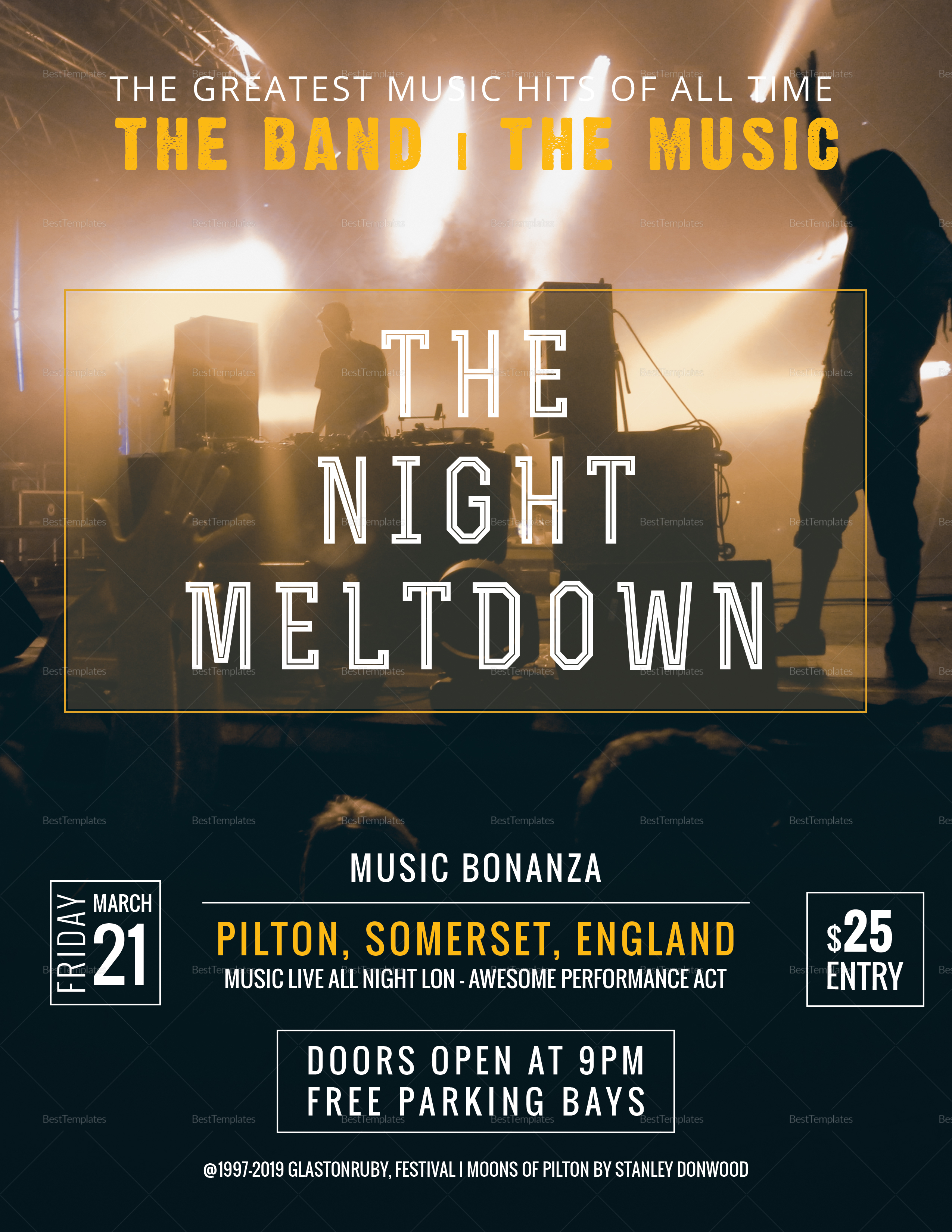 Rock Band Concert Flyer Design Template In Psd Word Publisher