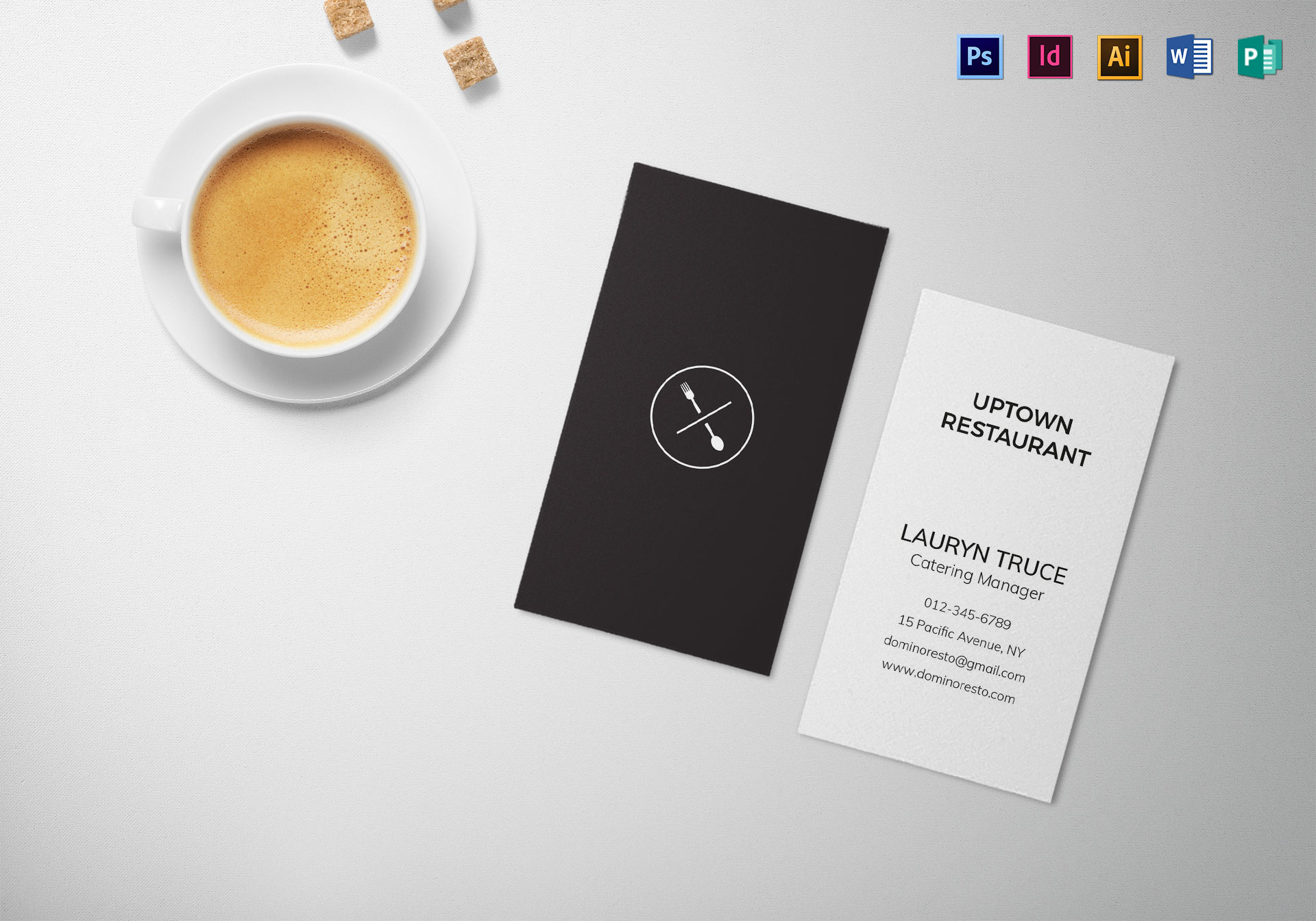 Minimal black and white business card template in psd word minimal black and white business card template wajeb