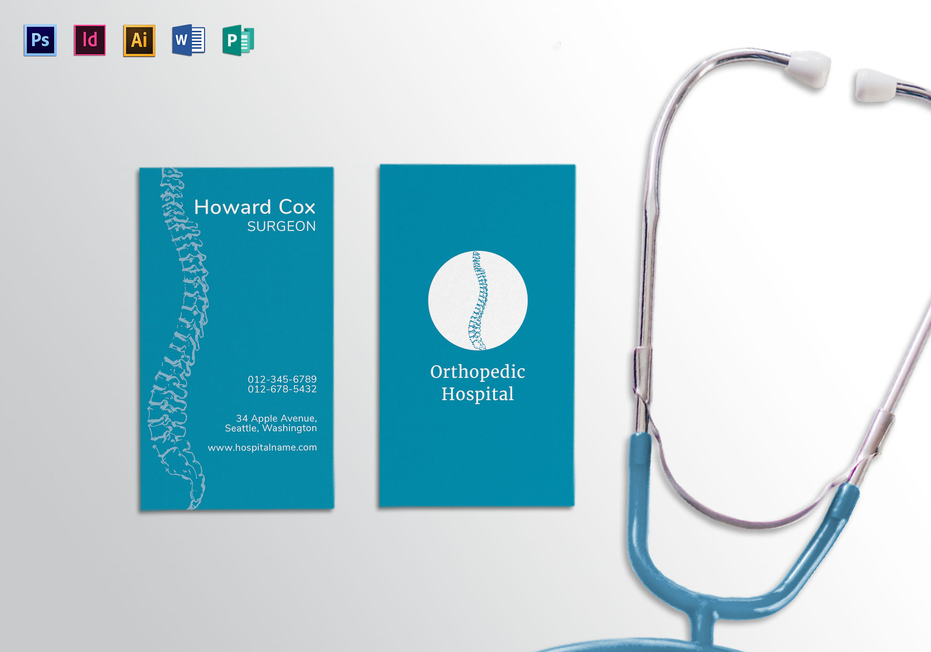 Medical orthopedist business card template in psd word for Med cards template