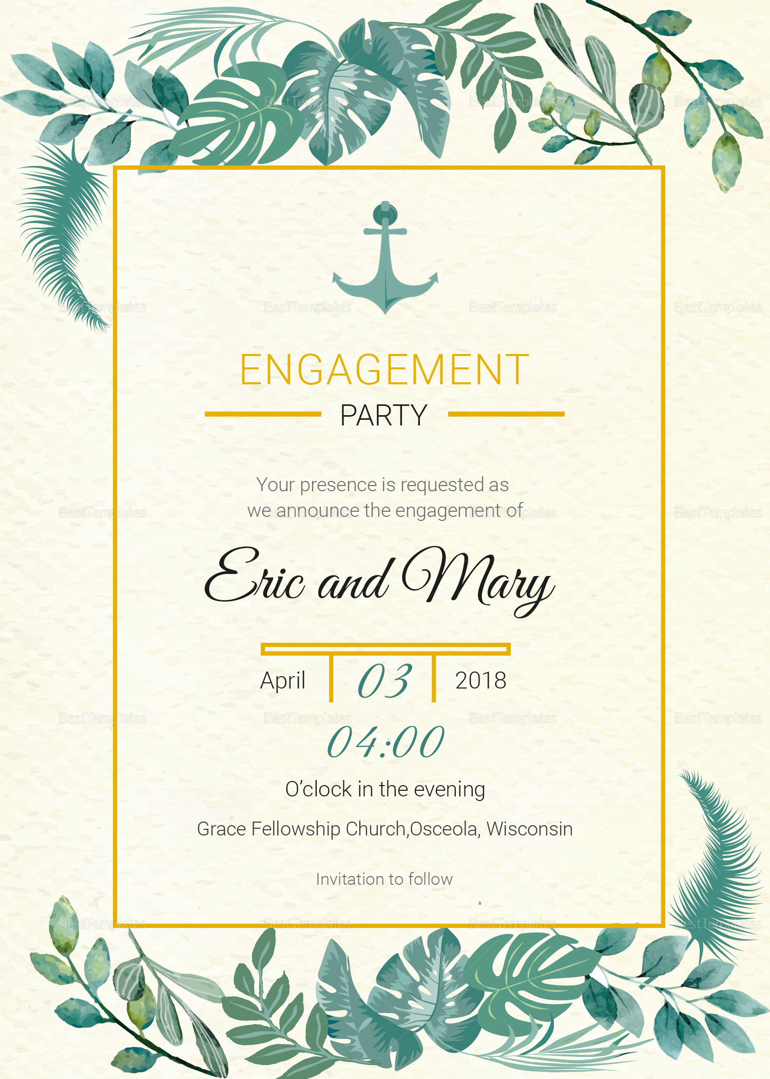 Nautical Engagement Announcement Card Template