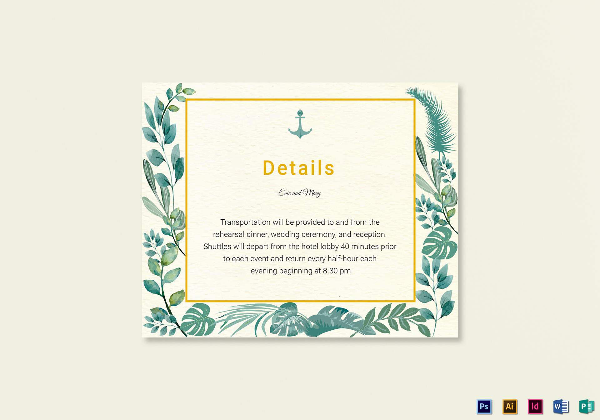 Nautical Wedding Details Card Template