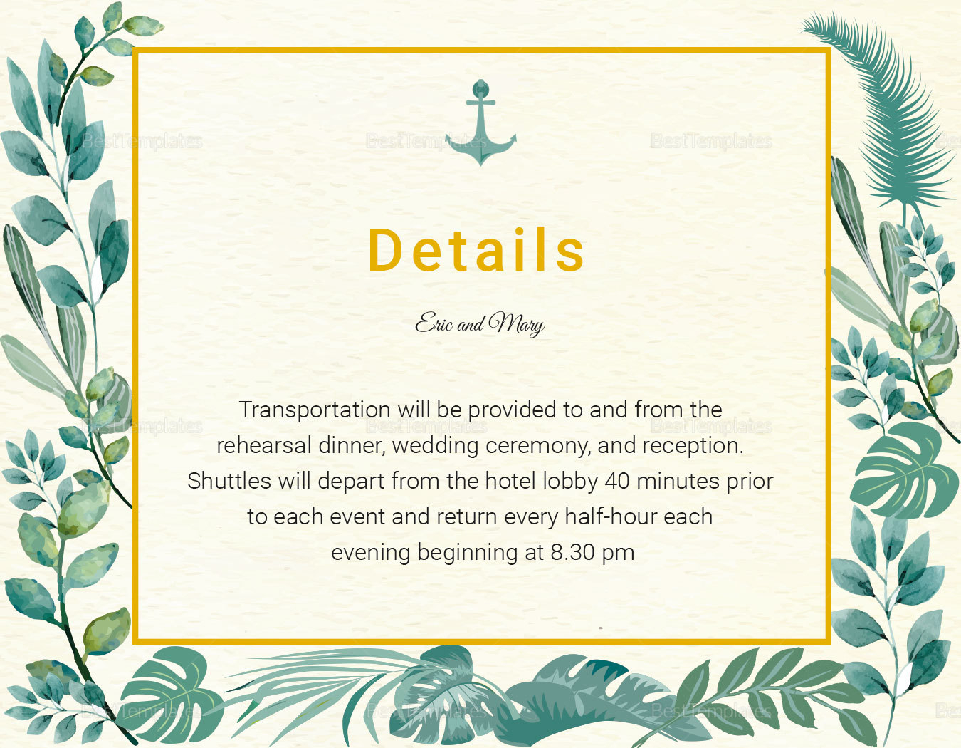 Nautical Wedding Details Card