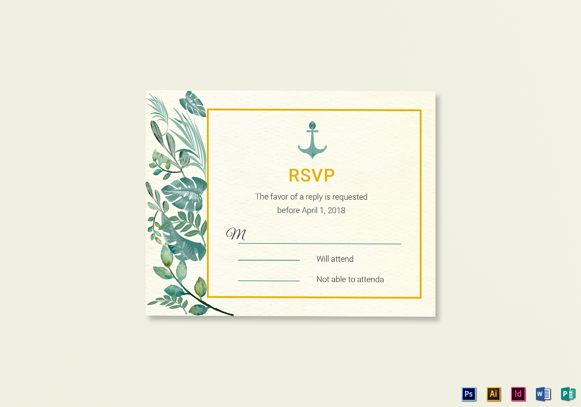 Nautical Wedding RSVP card Template