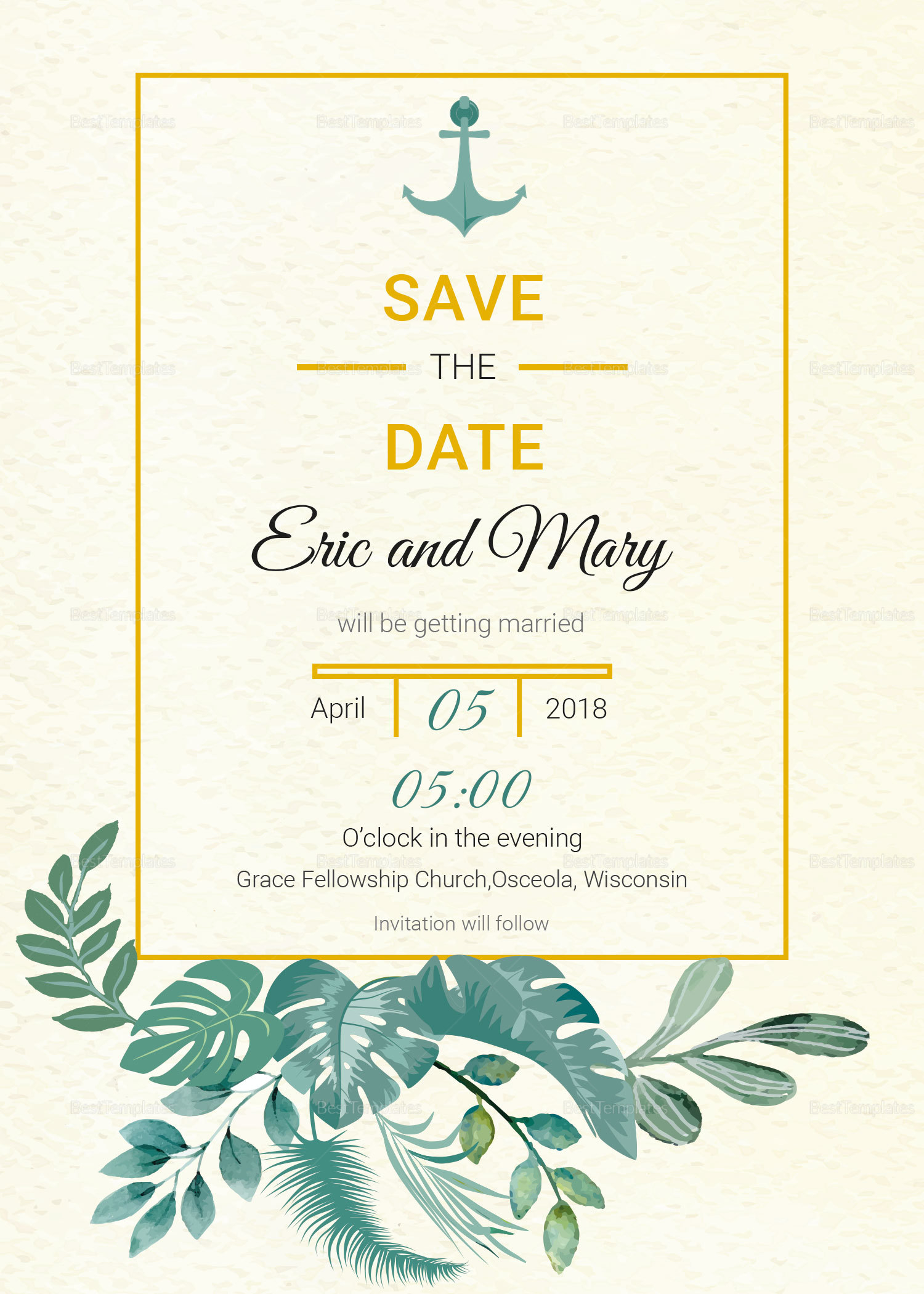 Nautical save the date card template in psd word for Publisher save the date templates