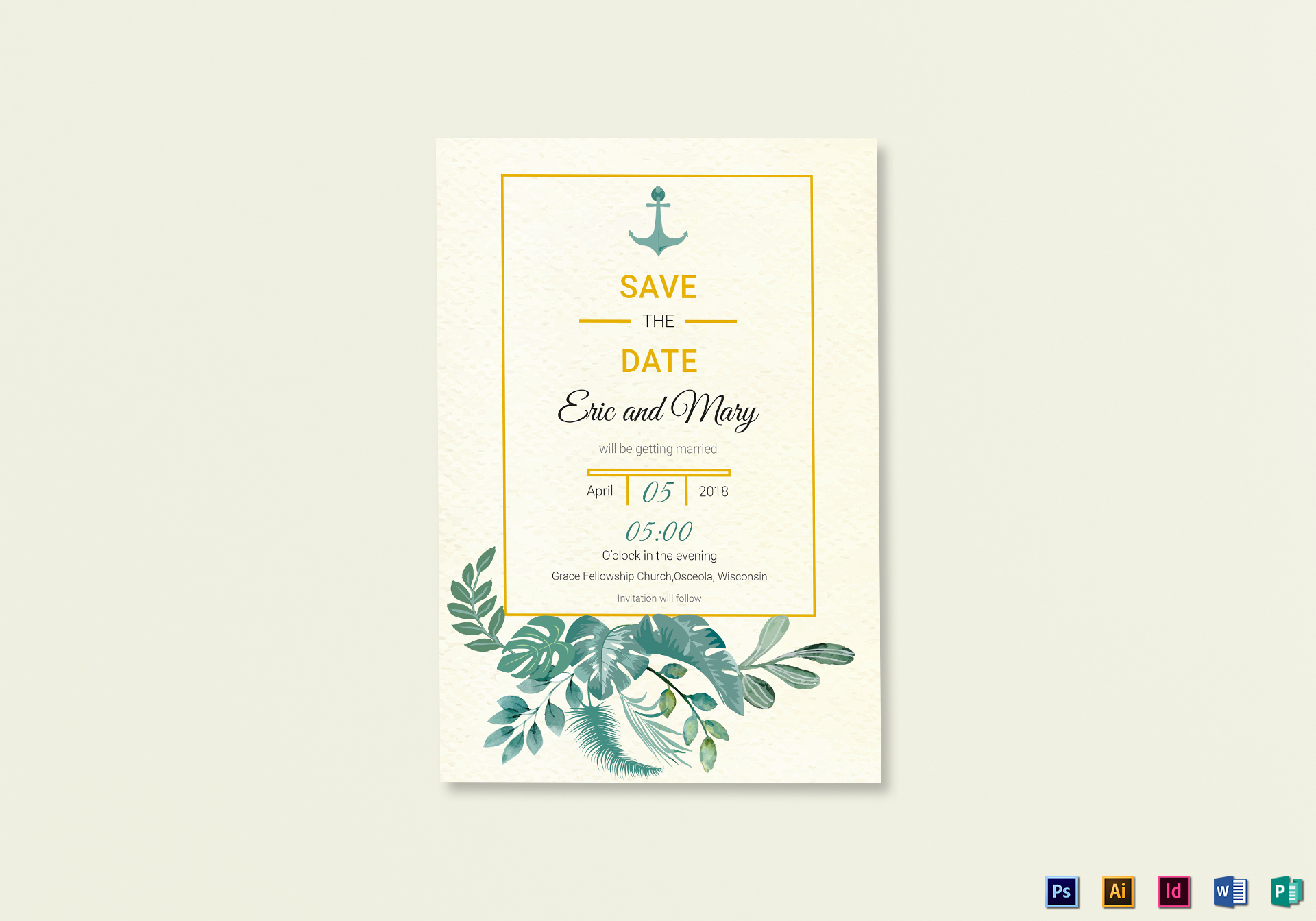 Nautical Save the Date Card Template