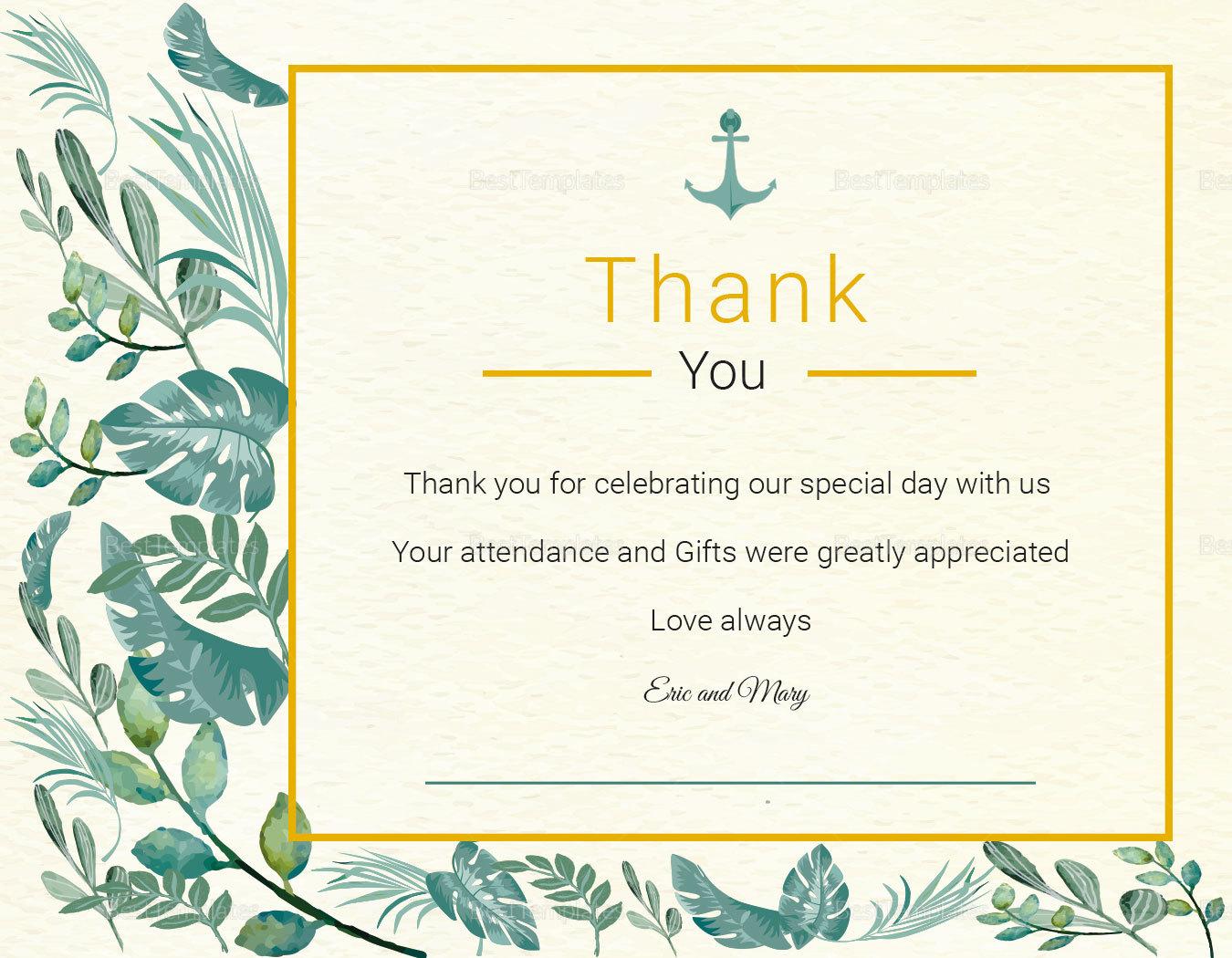 Nautical Thank You Card Template