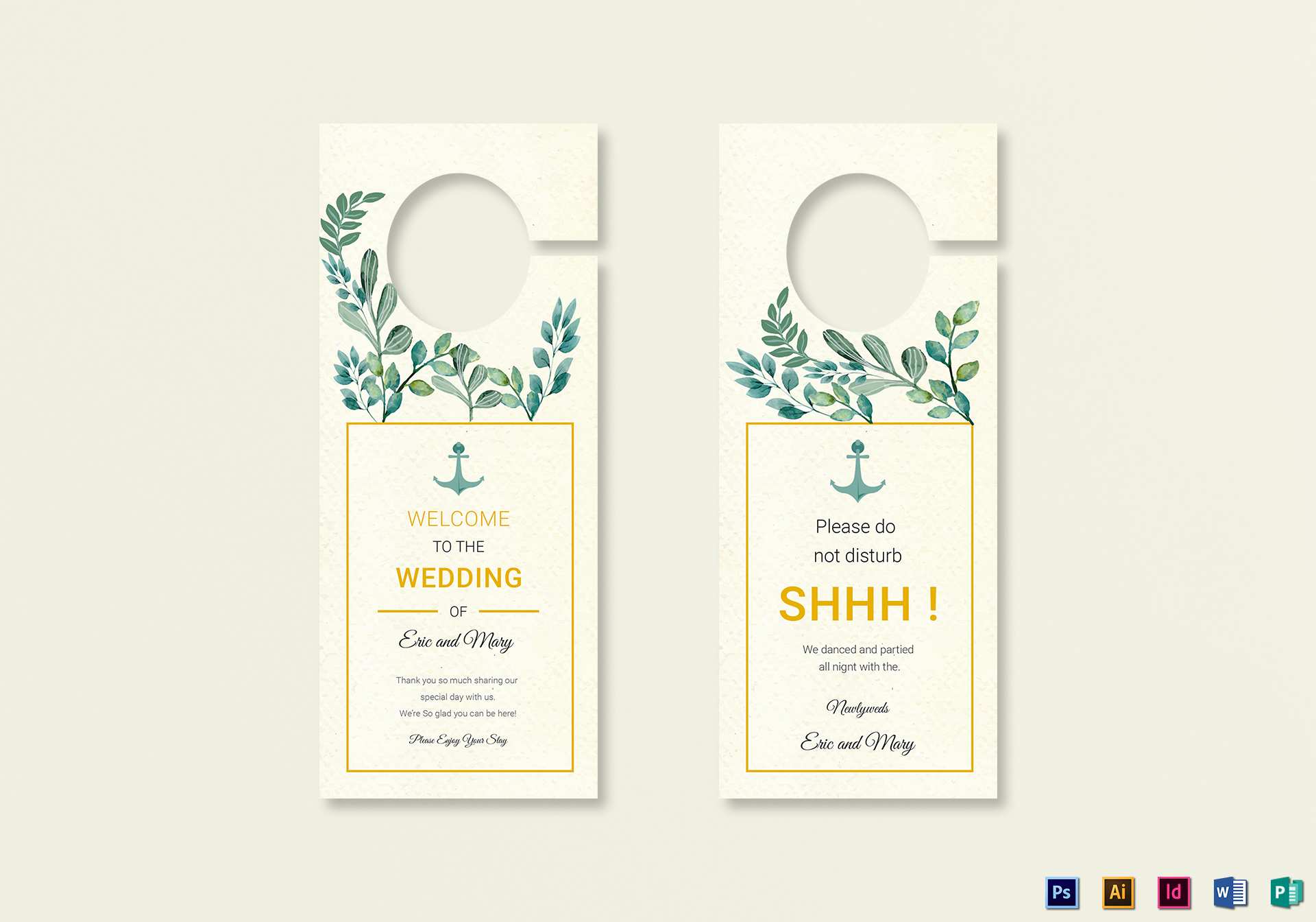 Nautical Wedding Door Hanger Template ...