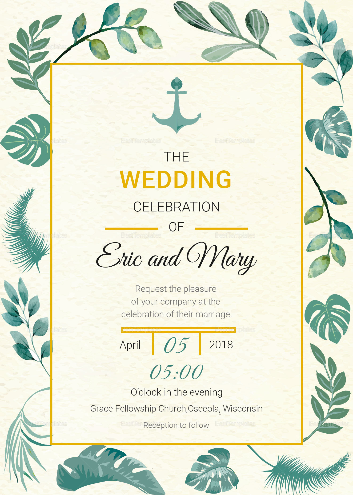 Nautical Wedding Invitations.Nautical Wedding Invitation Card Template