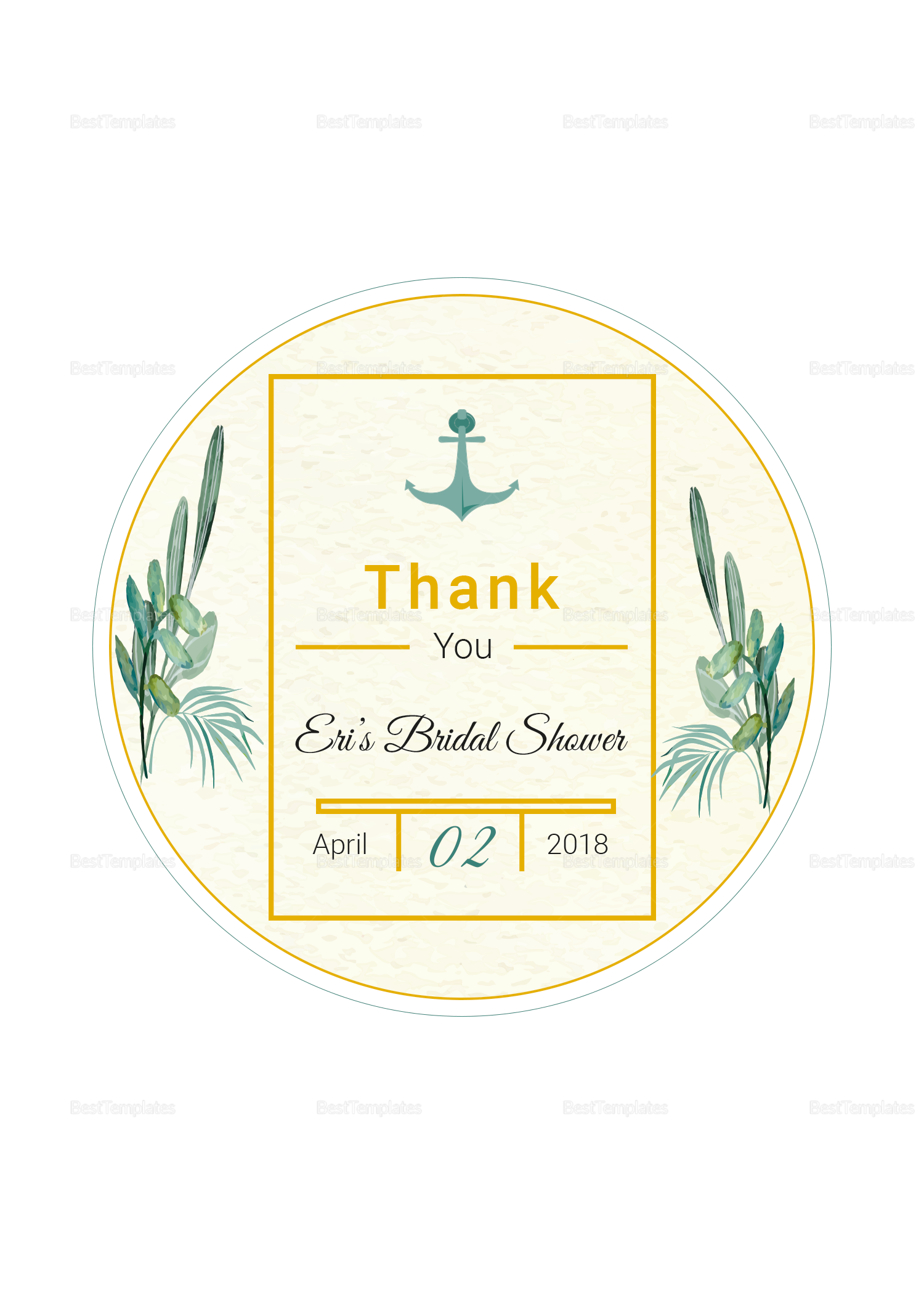 Nautical Wedding Label Template