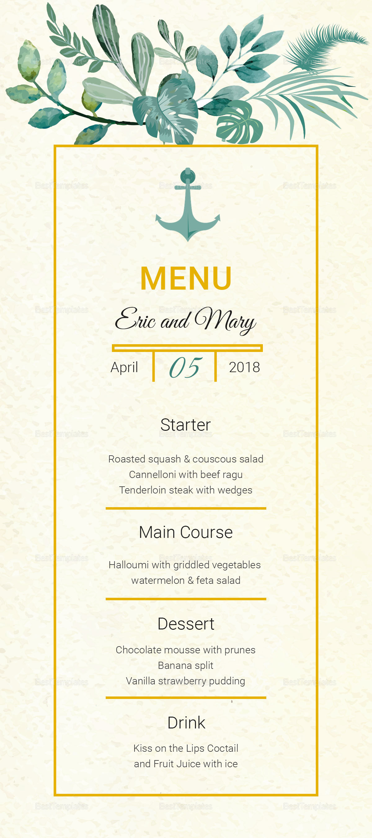 Nautical Wedding Menu Card Template