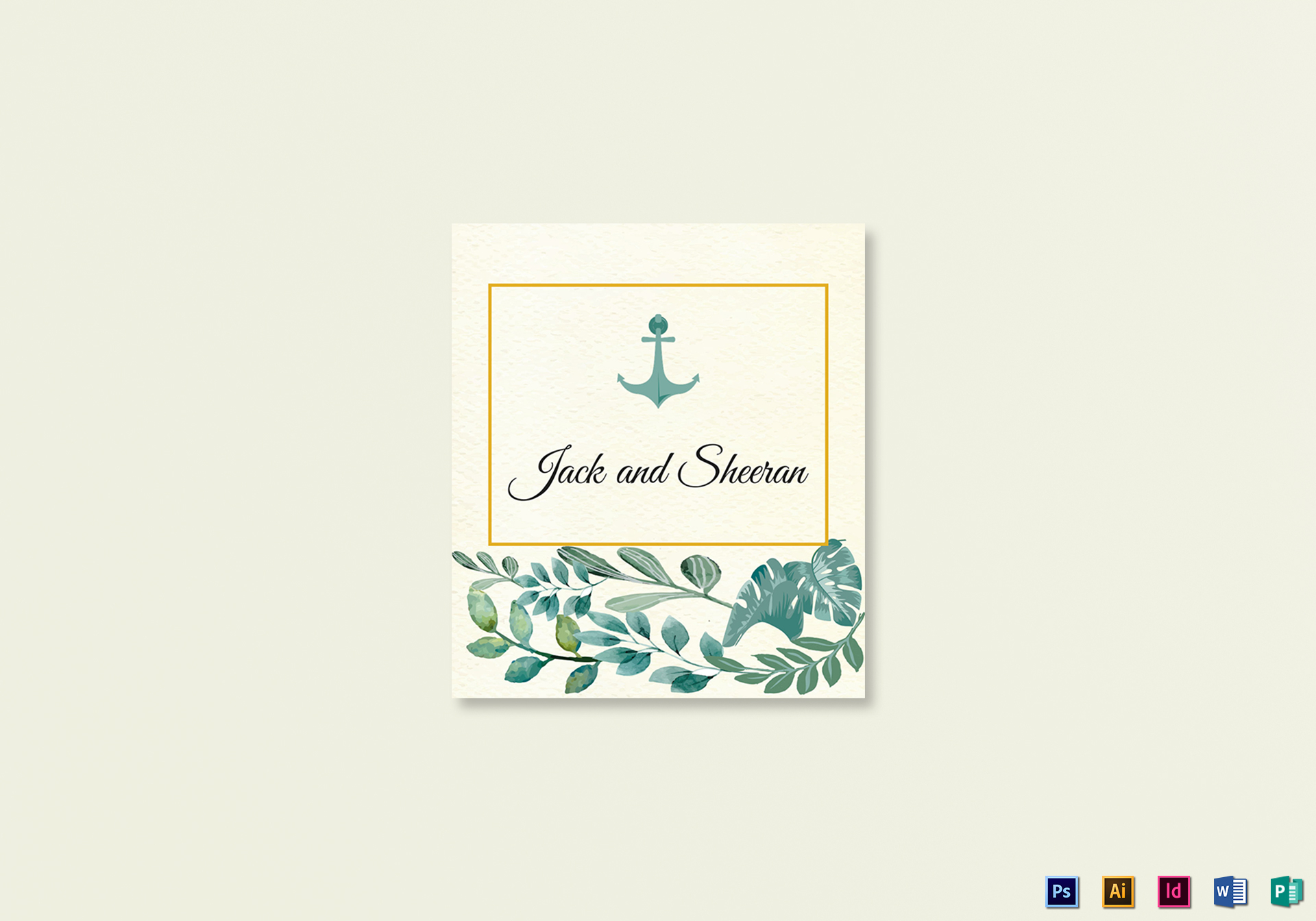 Nautical Wedding Place card Template