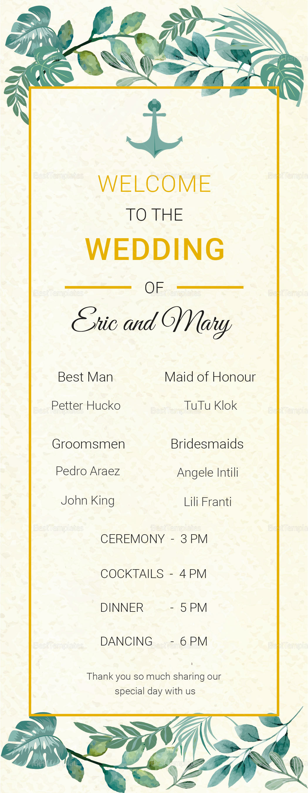 Nautical Wedding Program Card