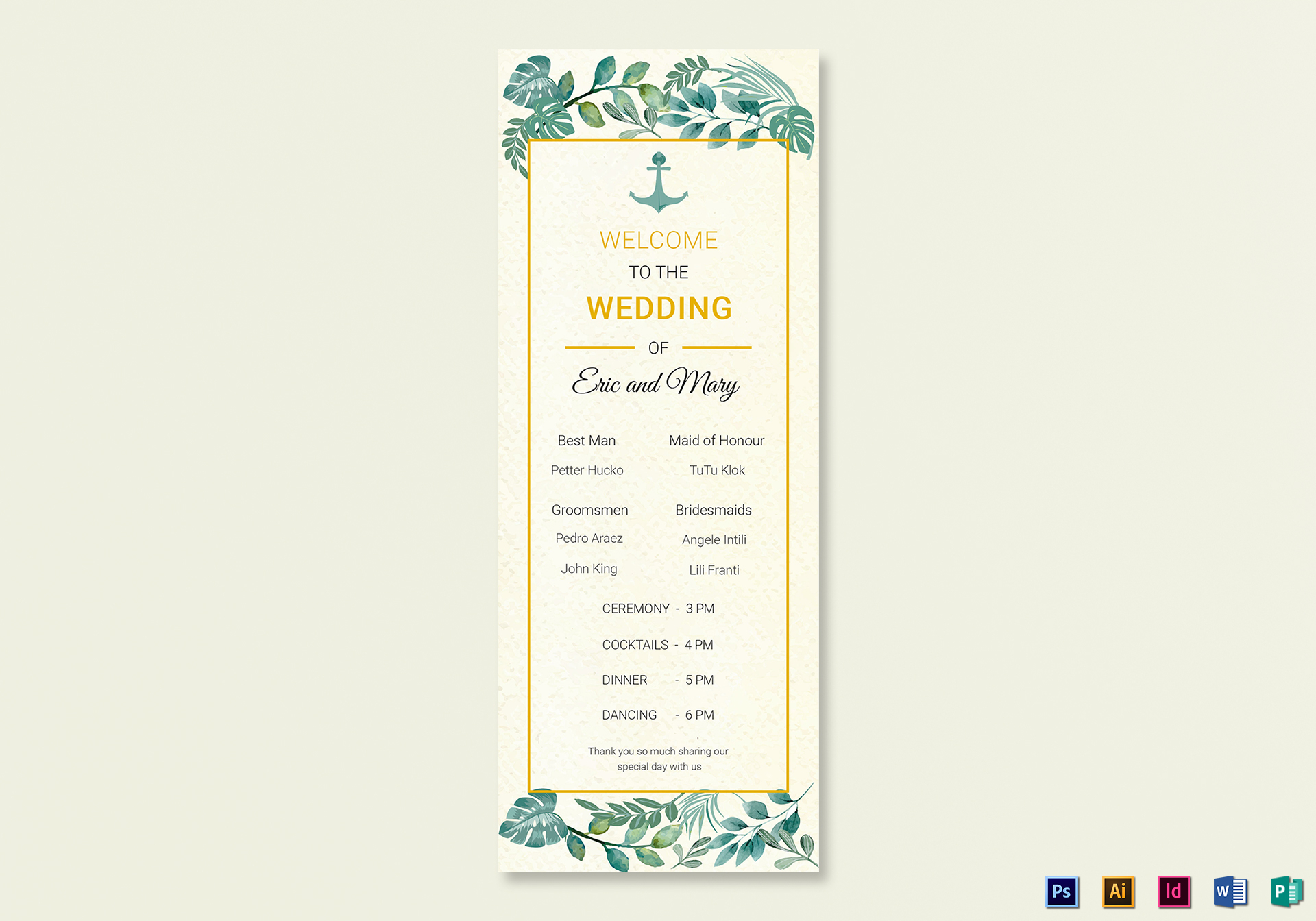 Nautical Wedding Program Card Template