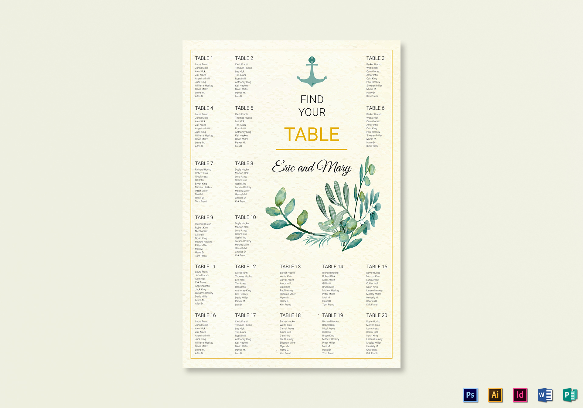 Nautical Wedding Seating Chart Template