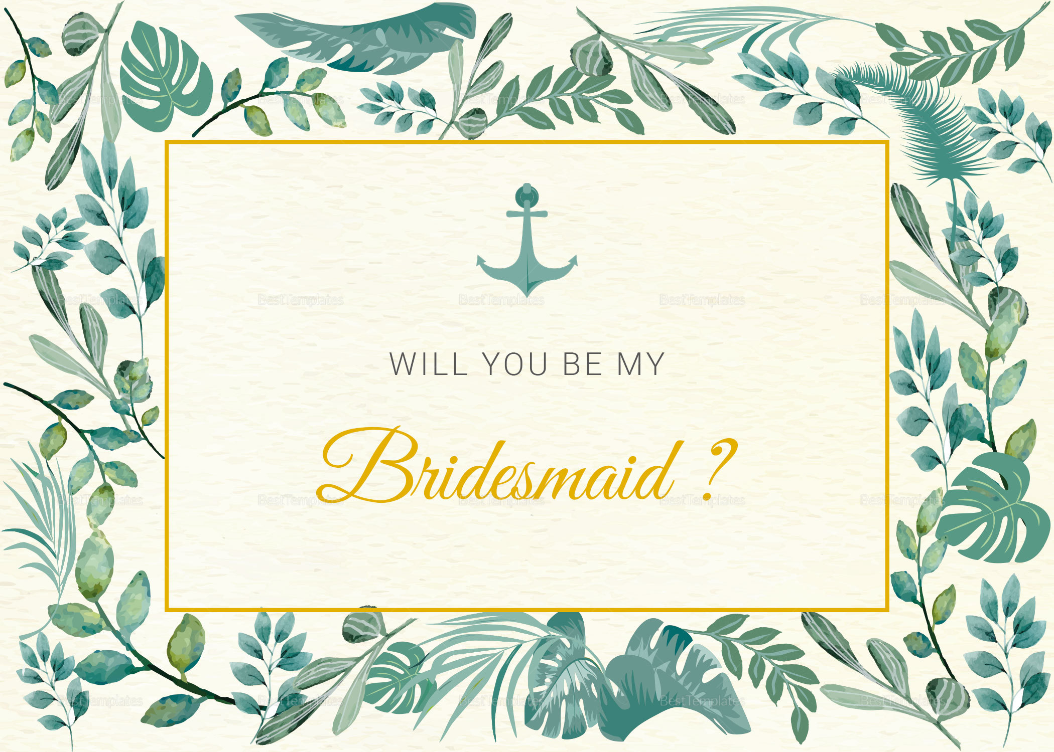 Nautical Will You Be My Bridesmaid Card Template in PSD, Word ...