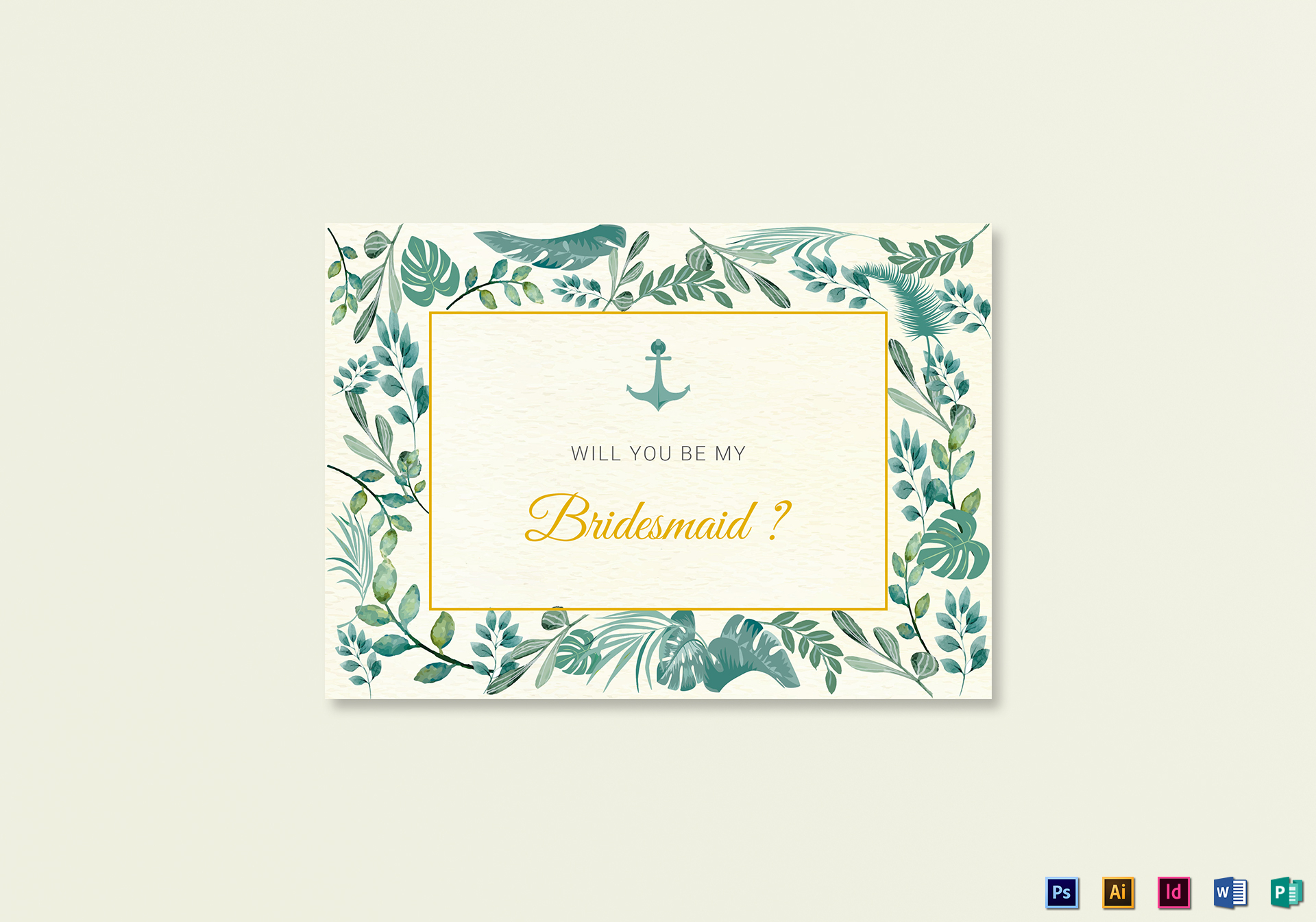 Nautical Will You Be My Bridesmaid Card Template