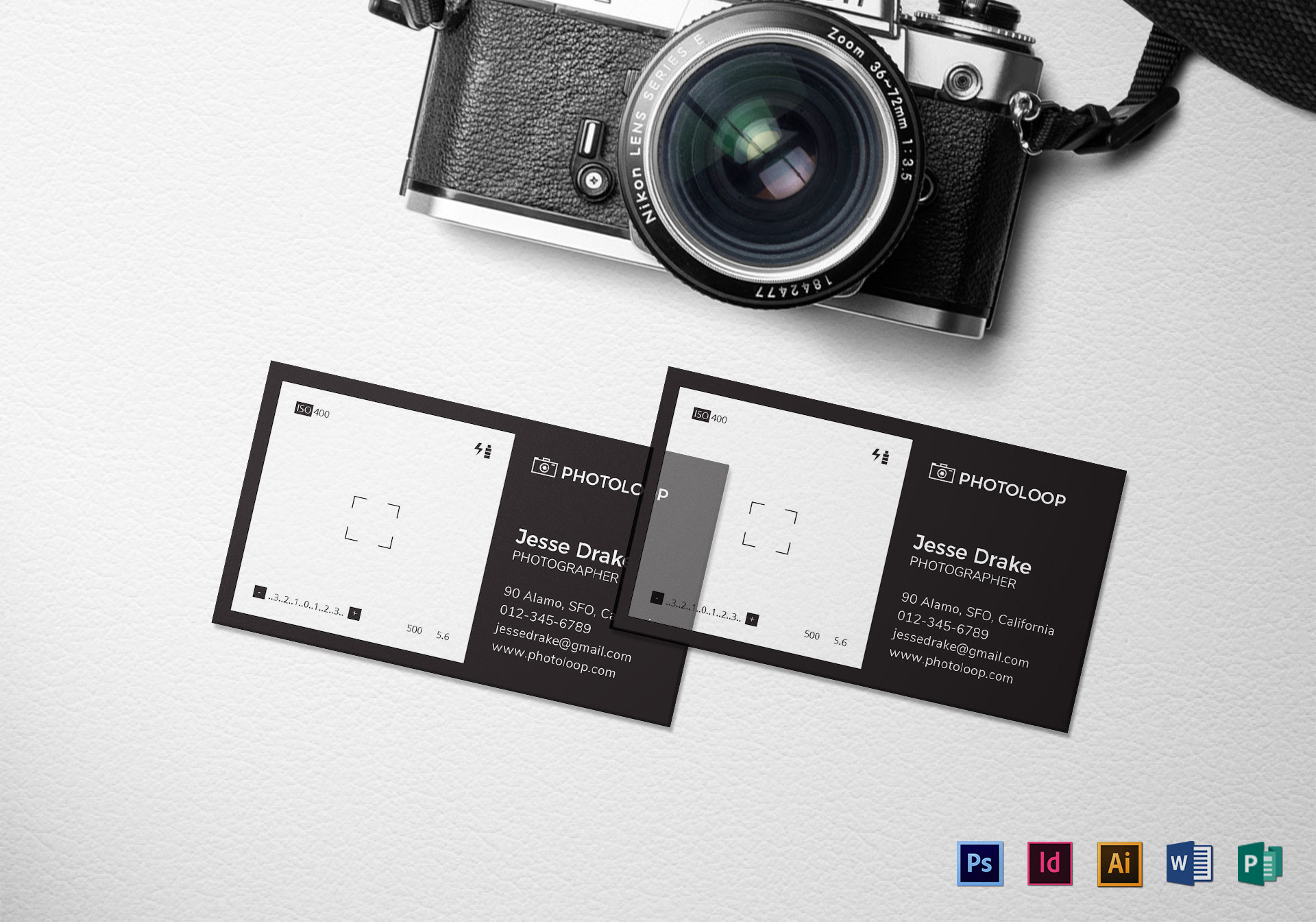 Plastic photographer business card template in psd word publisher plastic photographer business card template fbccfo Images