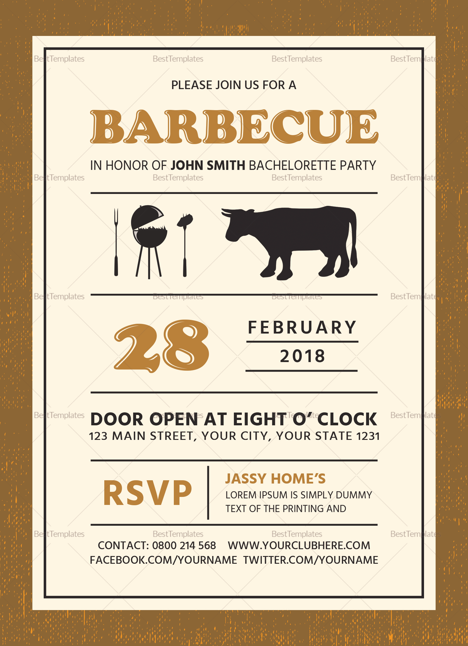 Bachelorette BBQ Party Invitation Card Design Template