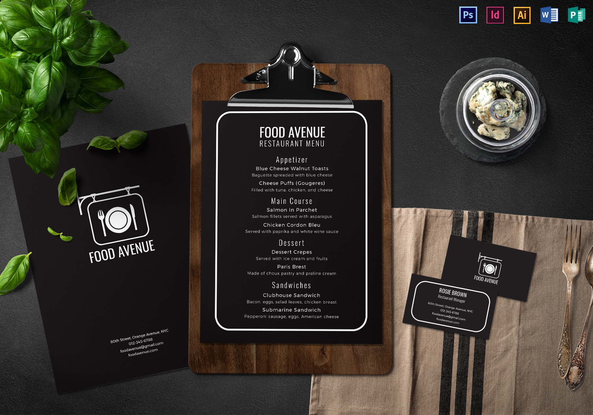 Restaurant Menu and Business Card Template