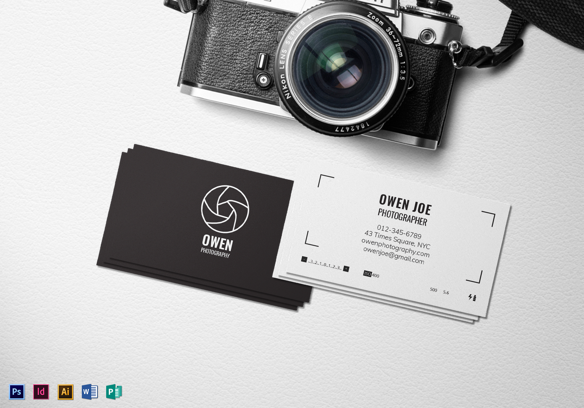 Photographer lens business card template in psd word publisher photographer lens business card wajeb