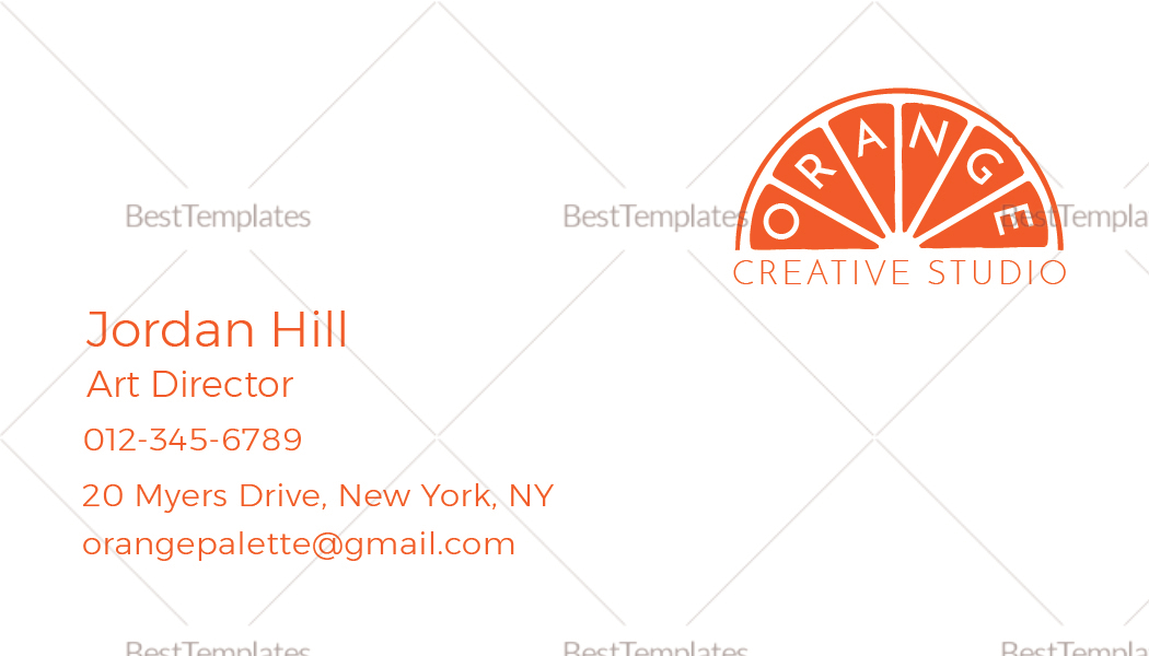 Printable Orange Business Card Template