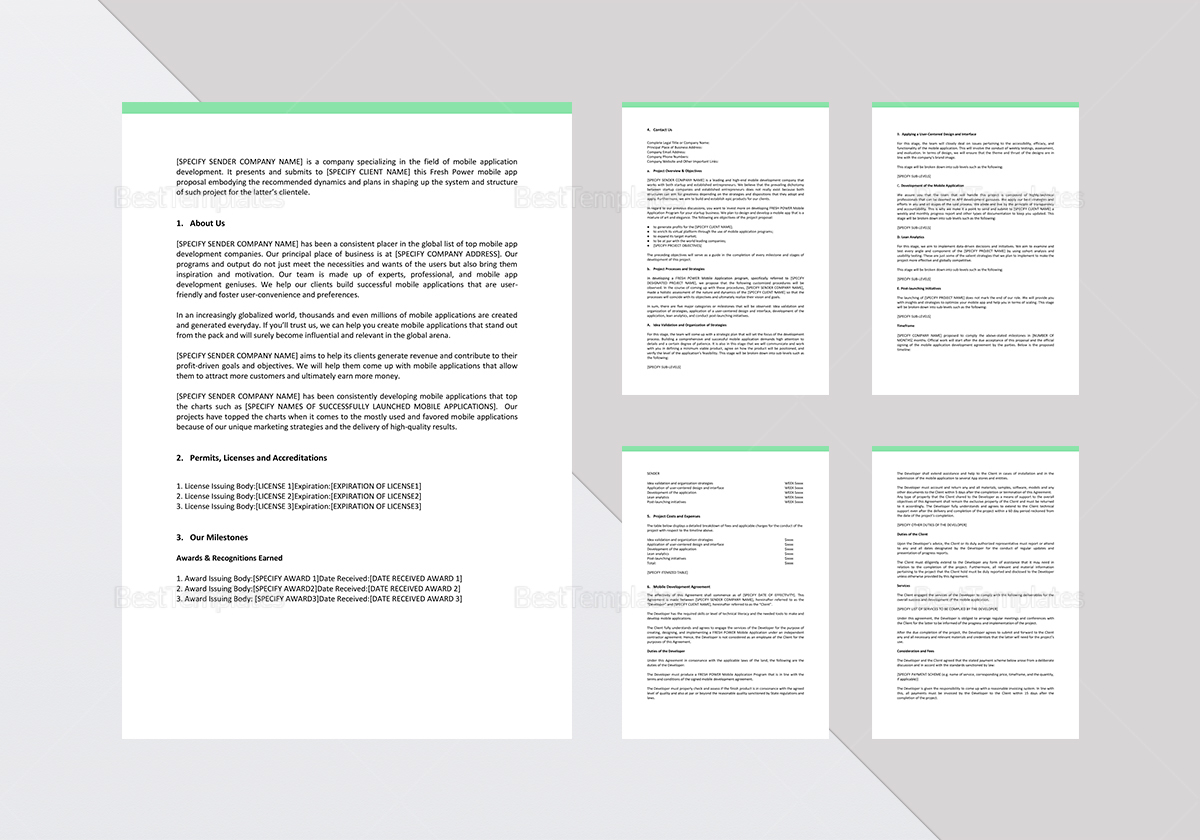 Freshpower Mobile App Proposal Template In Word Google Docs Apple