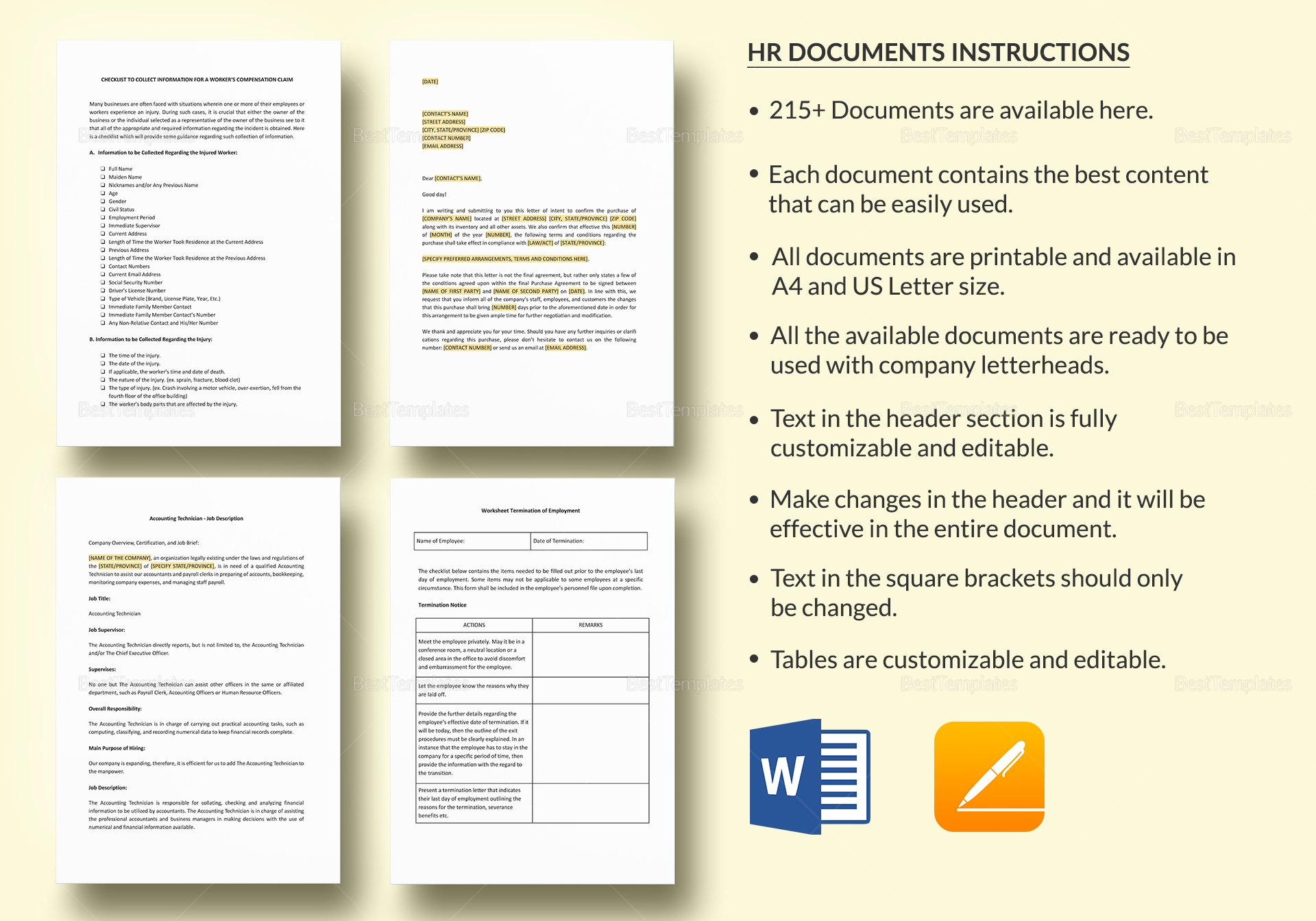 Simple HR Documents Template