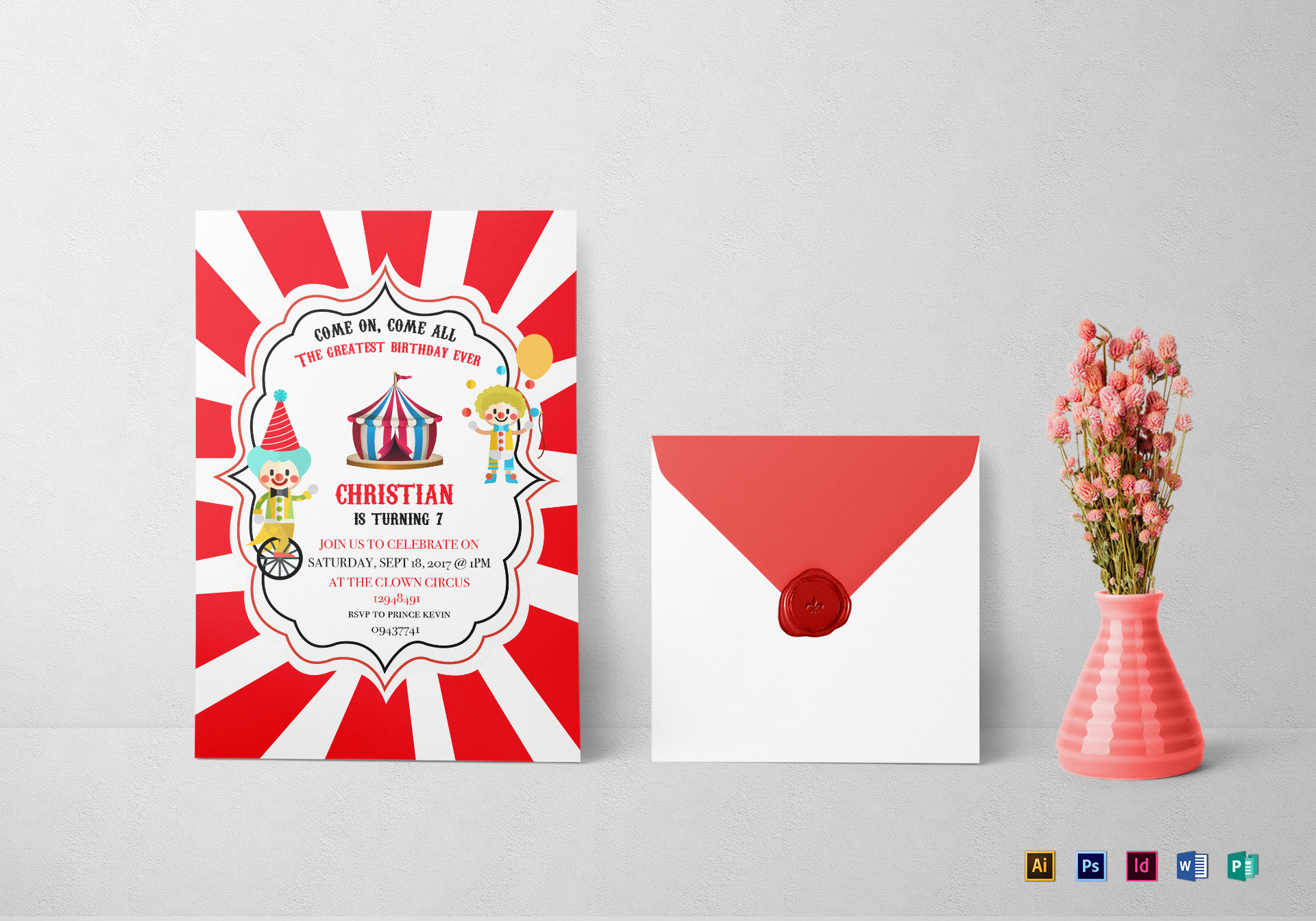 Circus Box Birthday Invitation Template
