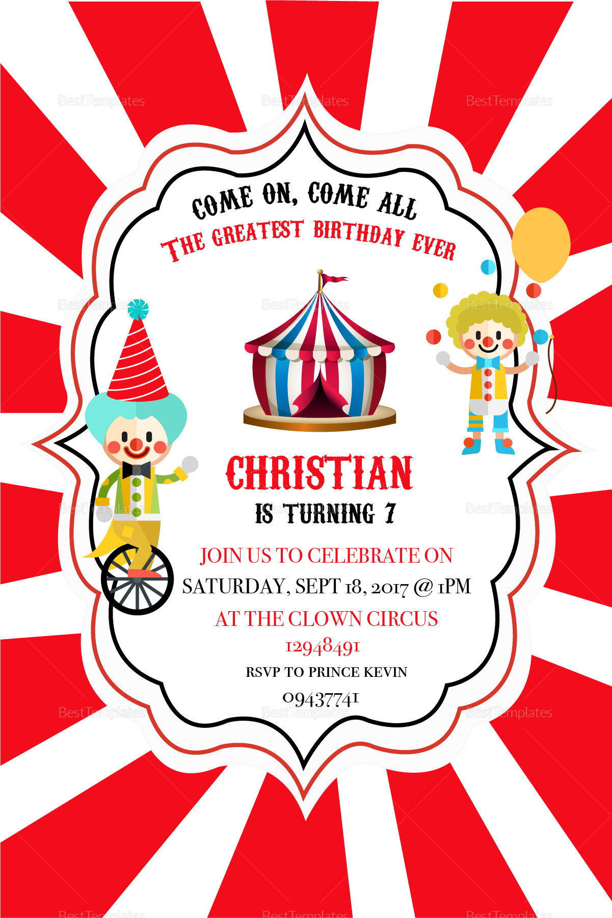 Circus Box Birthday Invitation