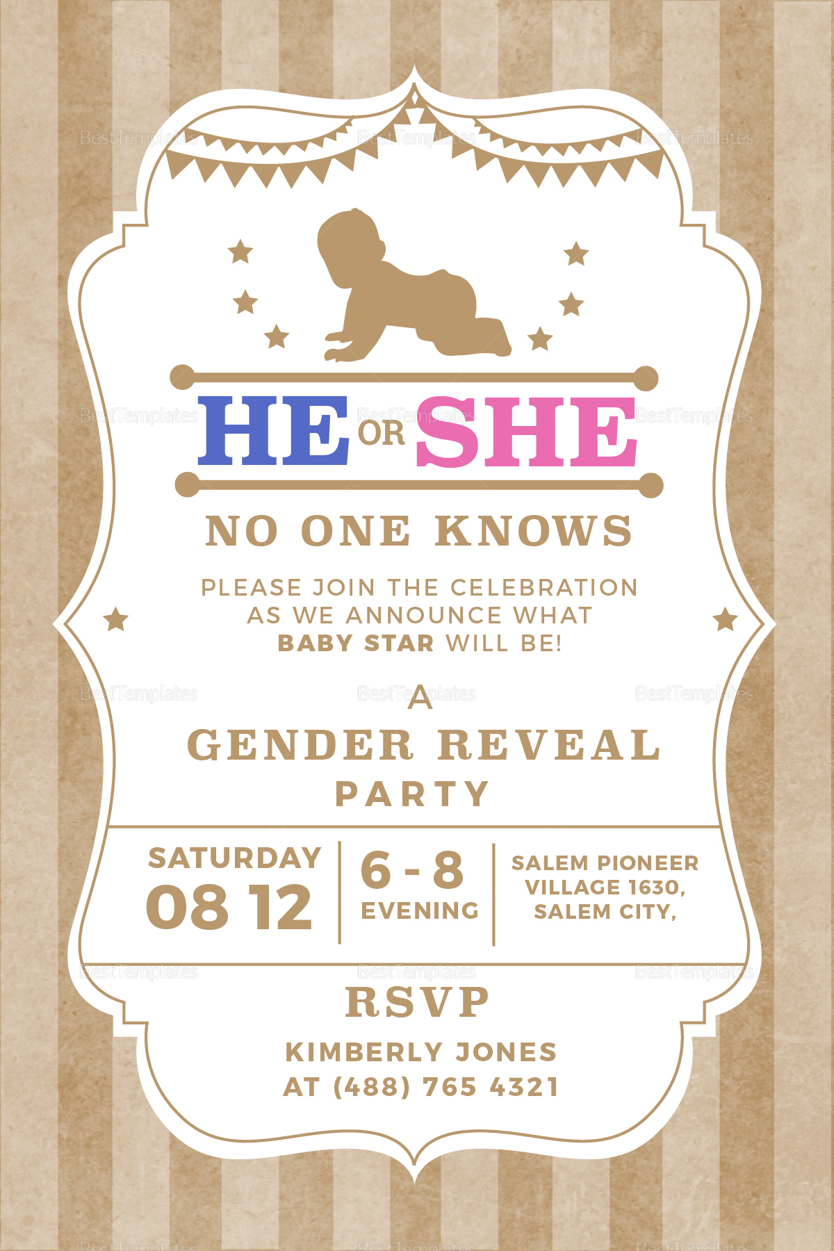 Country Gender Reveal Invitation Template