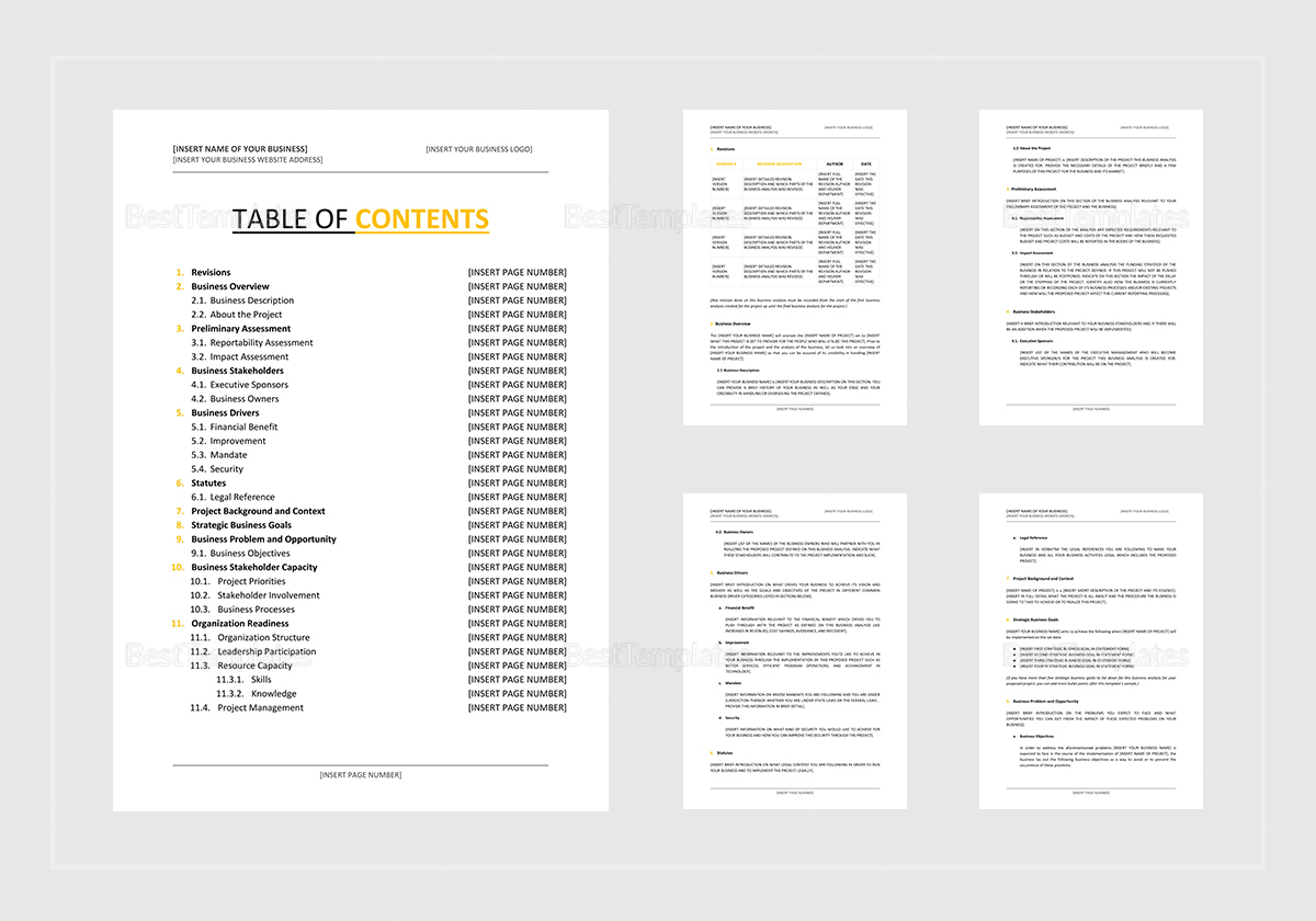 Sample Business Analysis Template