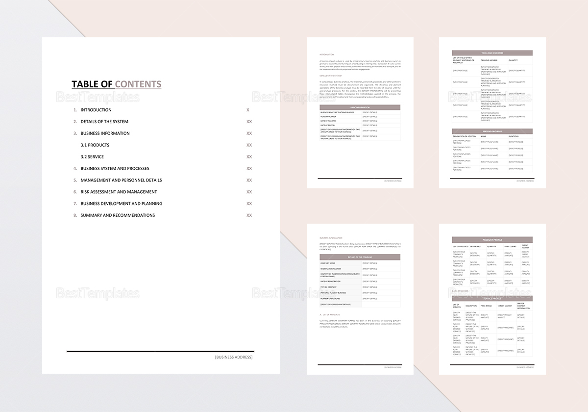 Business Impact Analysis Template
