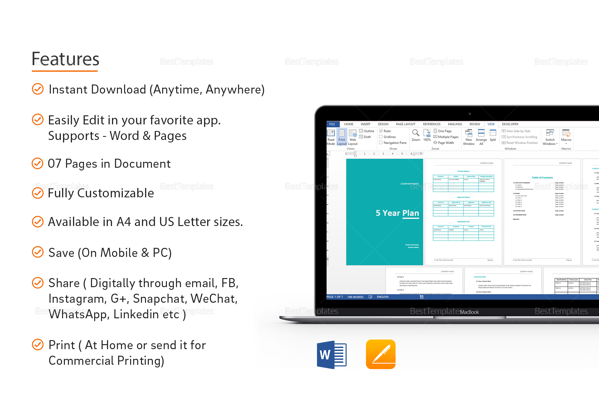 Five Year Plan Template In Word Google Docs Apple Pages