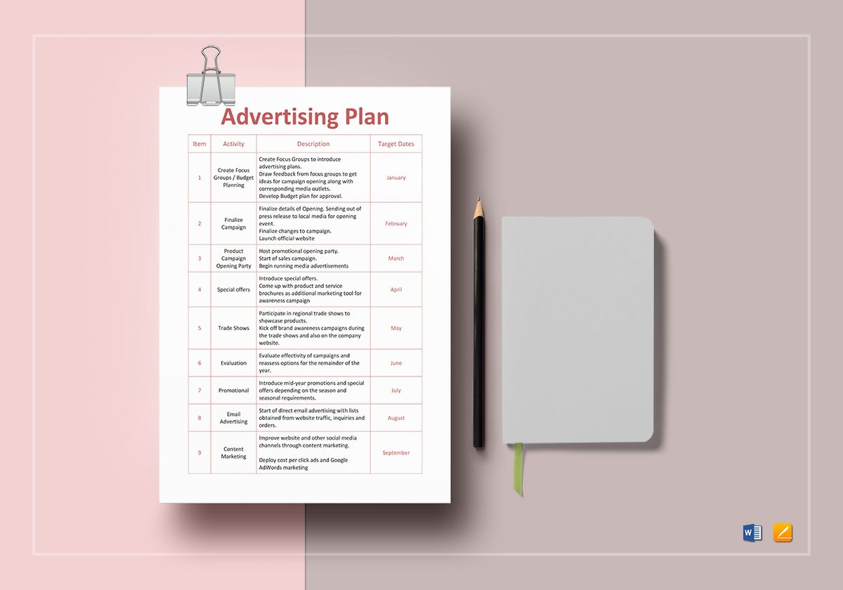 Advertising Plan Template