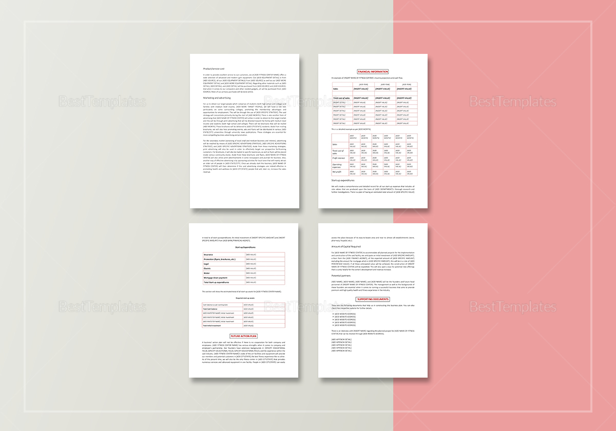 Gym Business Plan Template to Edit