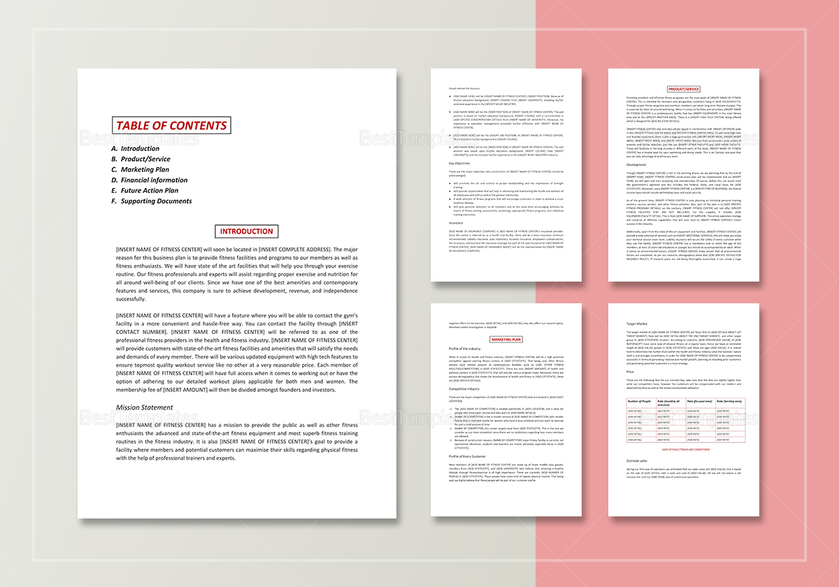 Simple Gym Business Plan Template