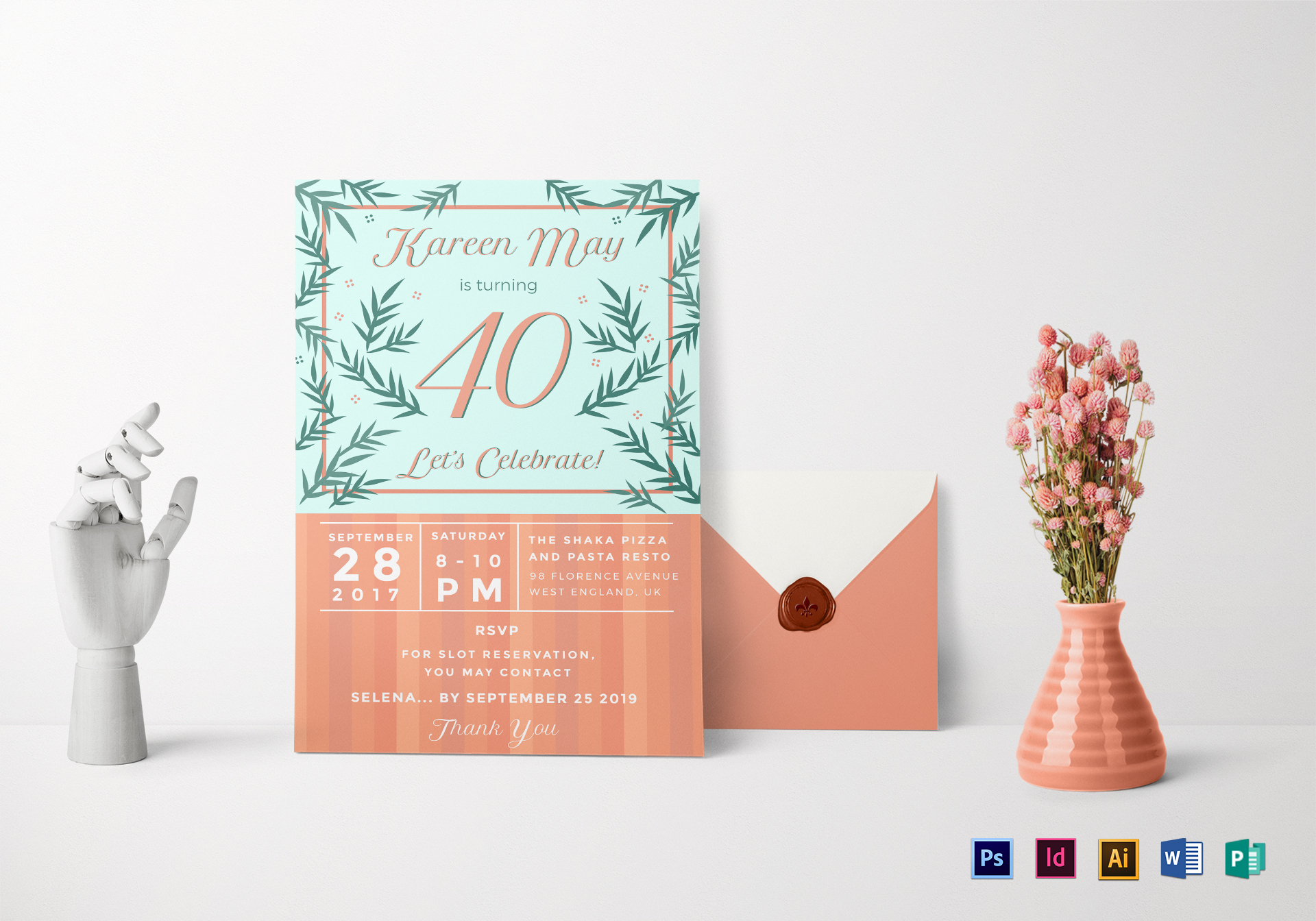 40th Birthday Invitation Design Template In Psd Word Publisher Illustrator Indesign