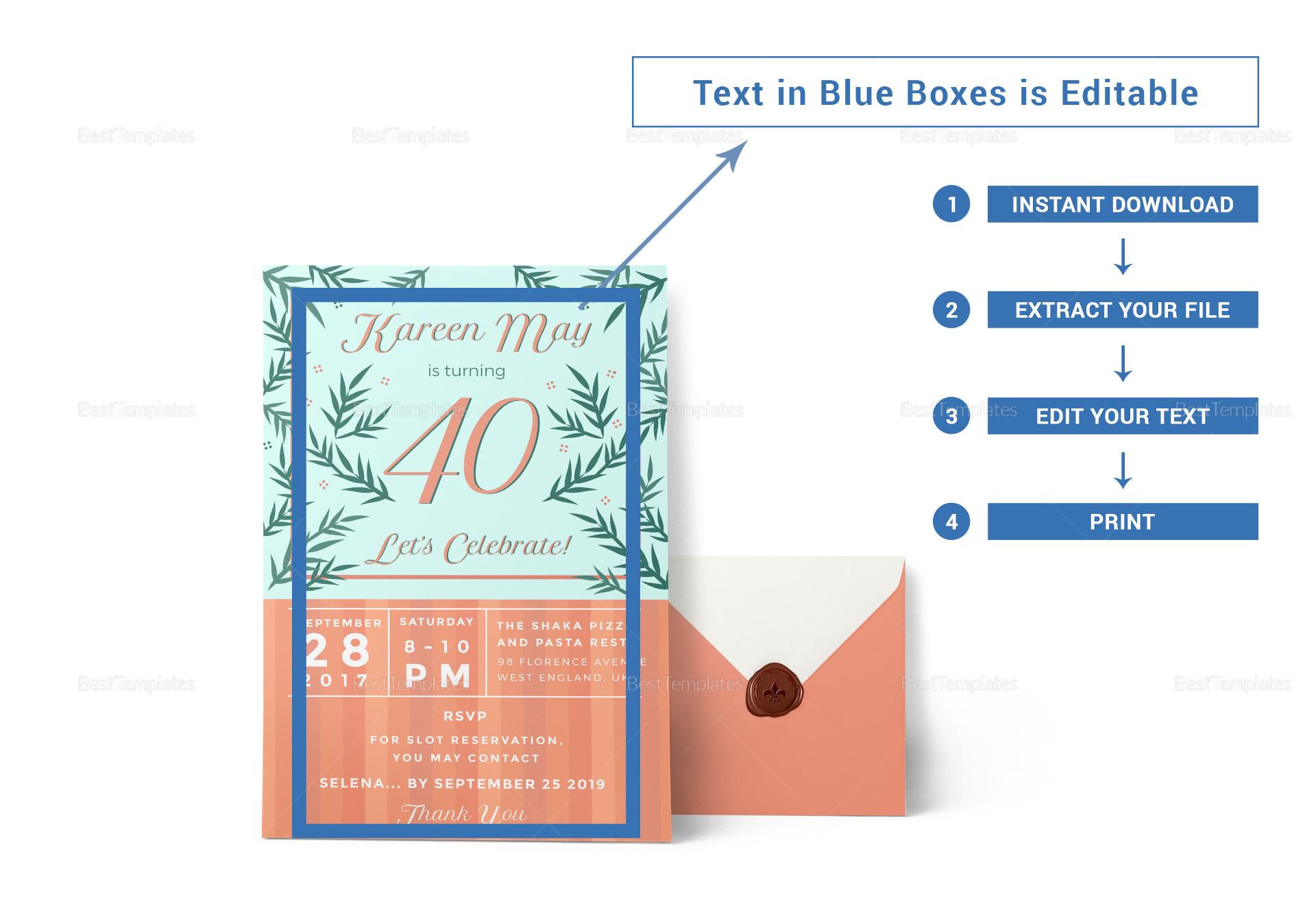 40th Birthday Revision Invitation Template