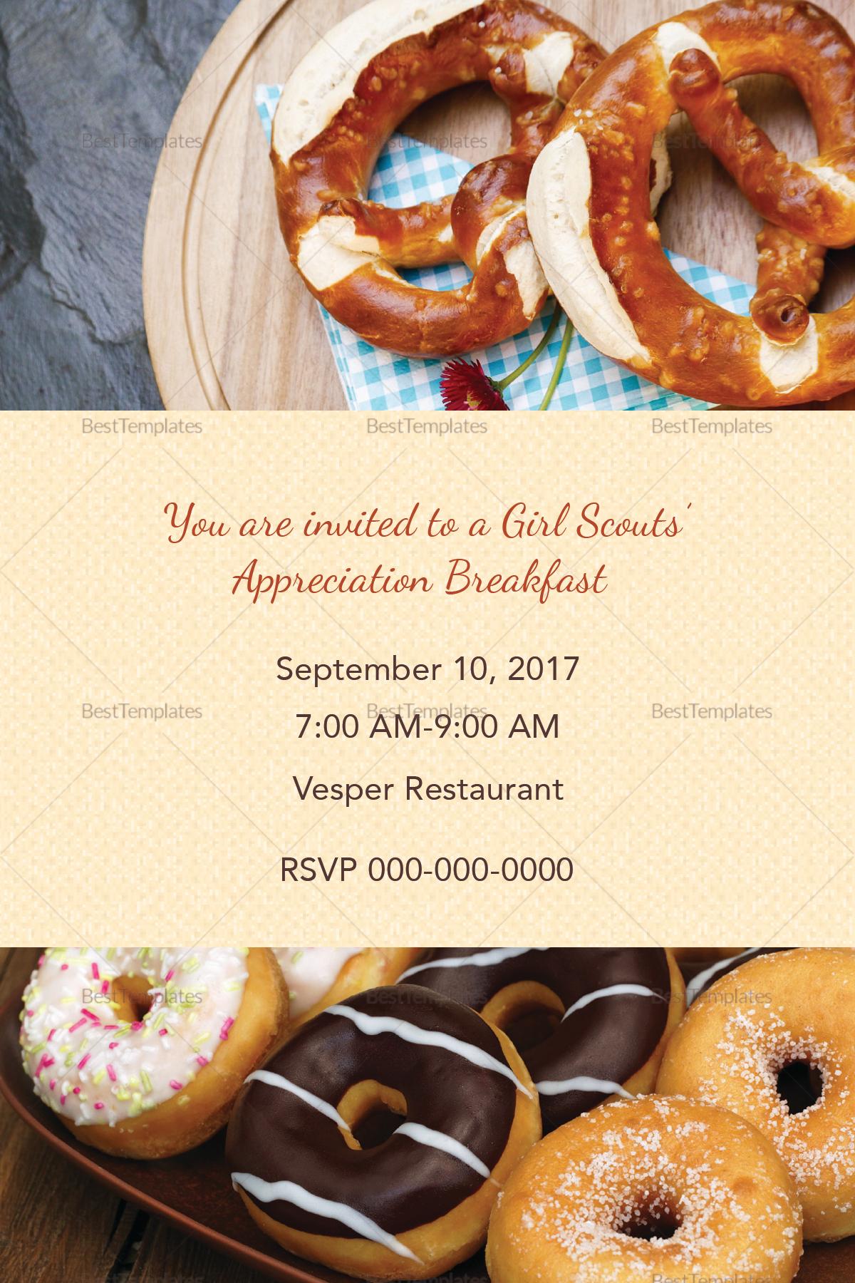 Editable Appreciation Breakfast Invitation