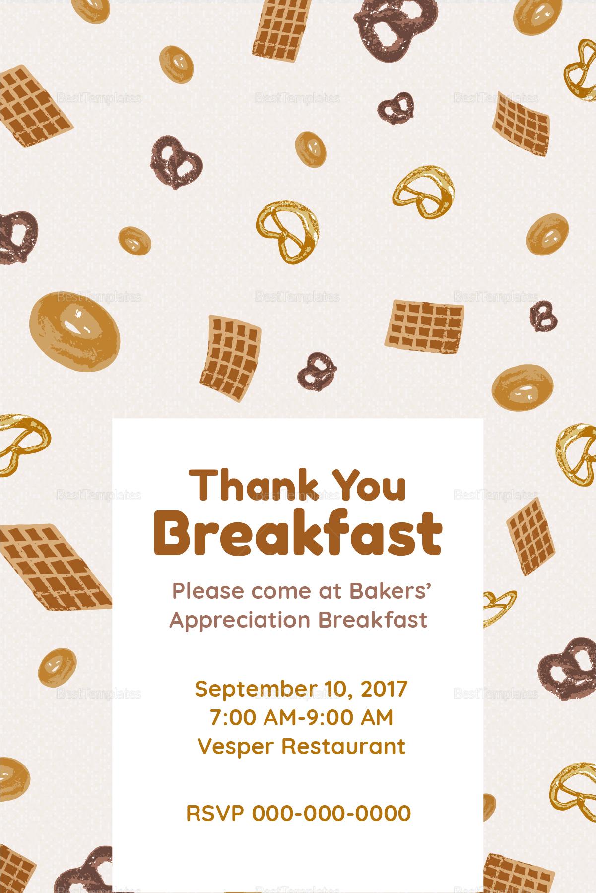 Simple Appreciation Breakfast Invitation