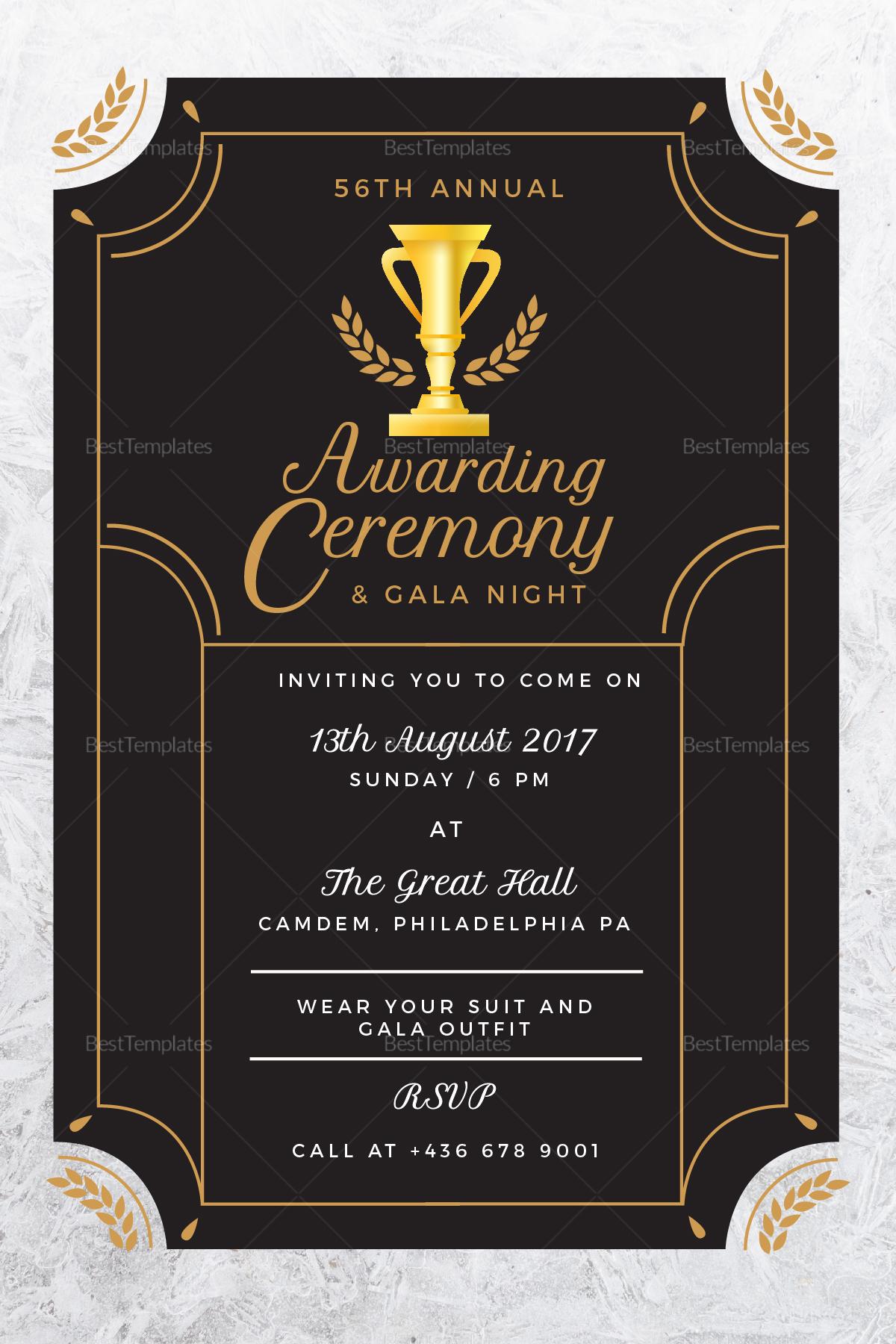Sample Annual Award Ceremony Invitation Template