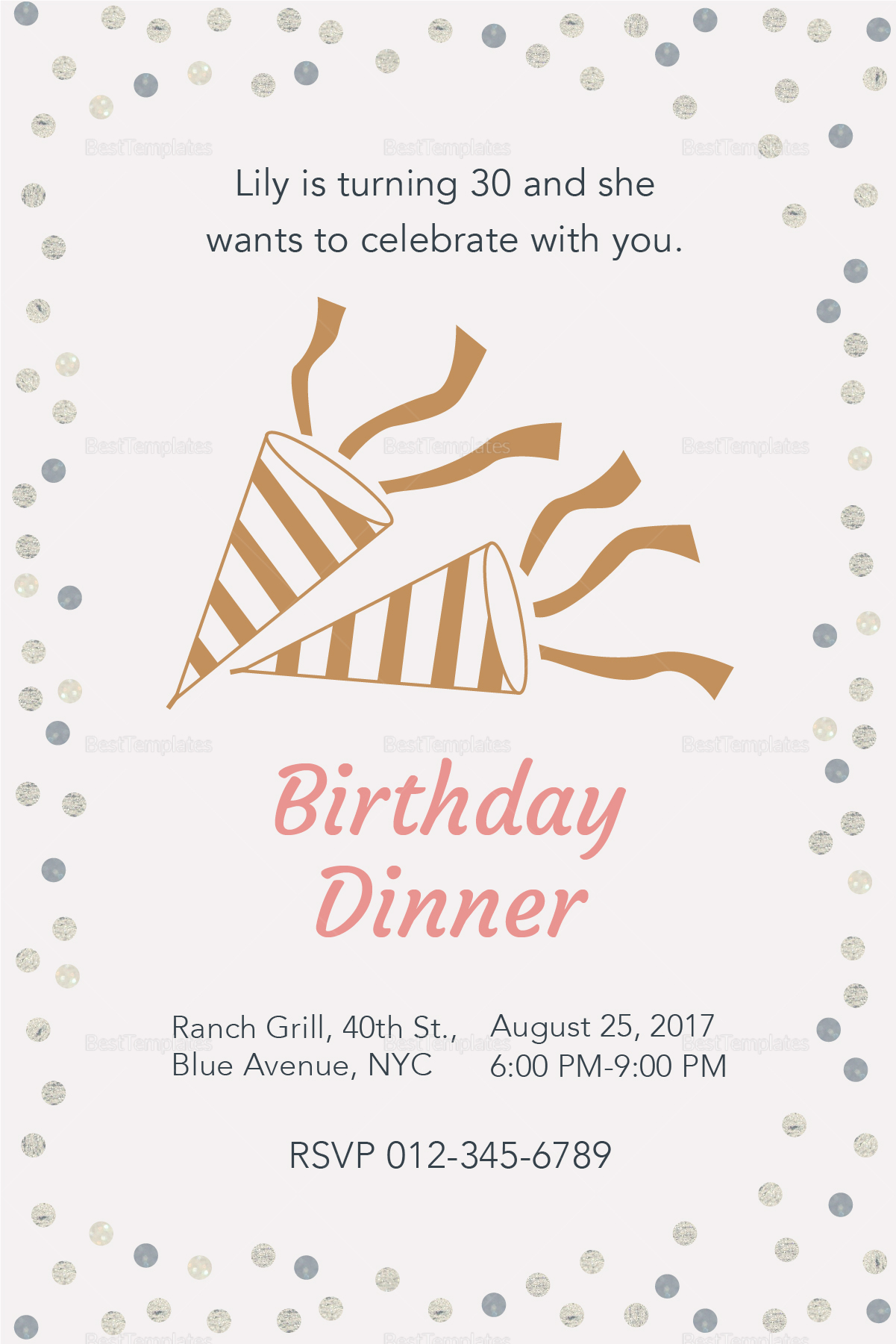 birthday dinner invitation design template in psd  word