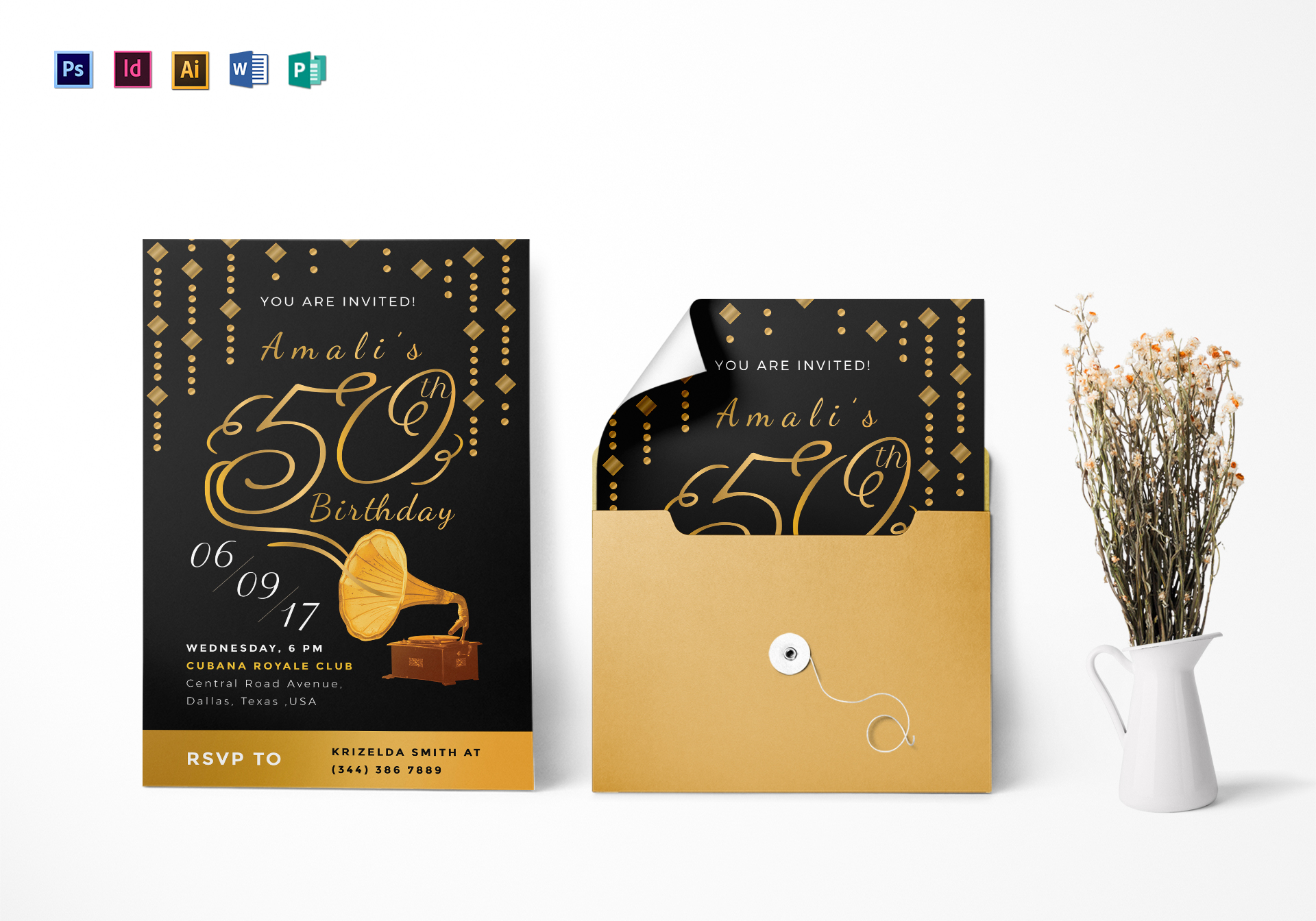 golden gramophone 50th birthday party invitation design template in