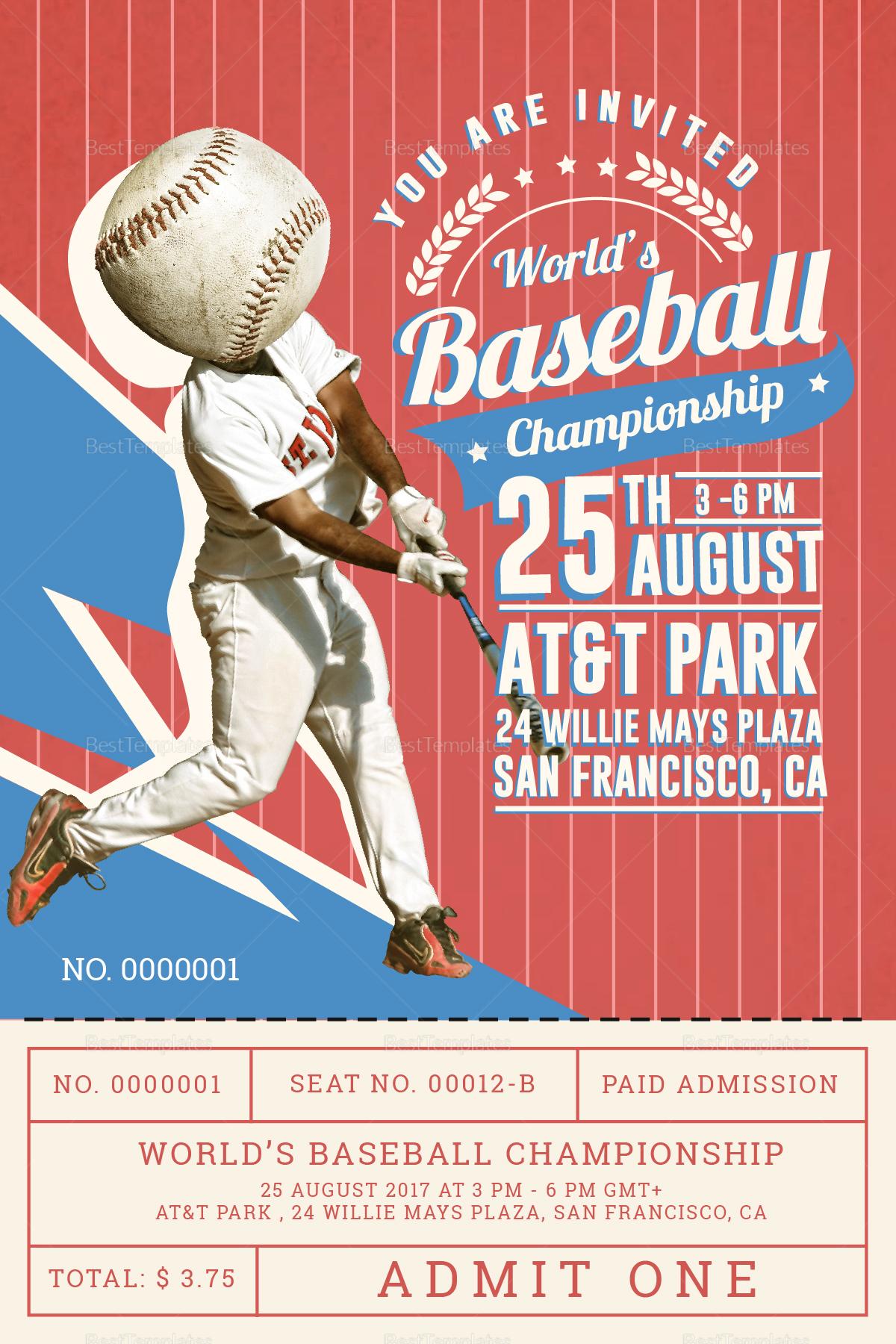 Baseball Ticket Invitation Card Design Template in PSD, Word ...