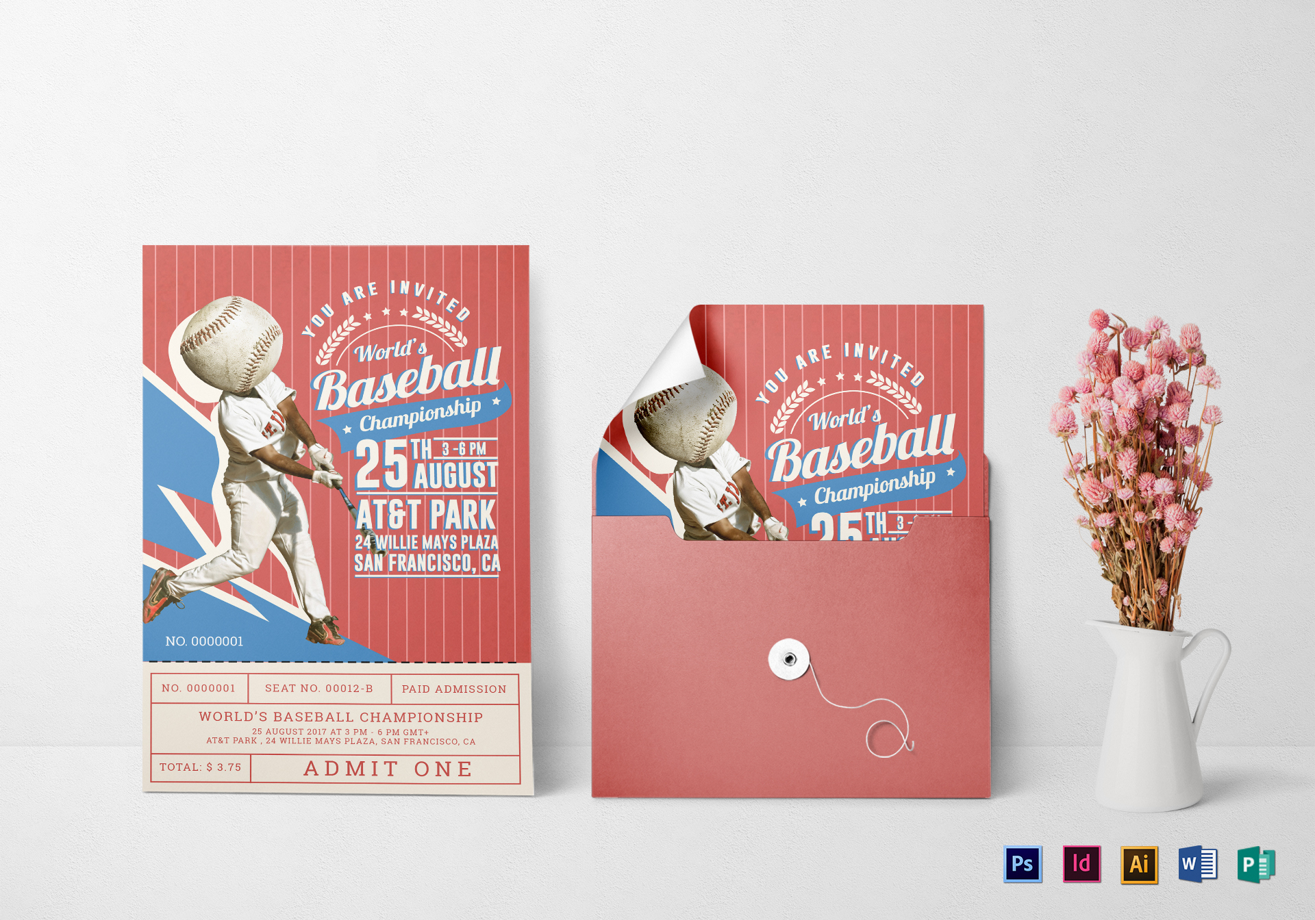 Baseball Ticket Invitation Card Design Template in PSD, Word ...