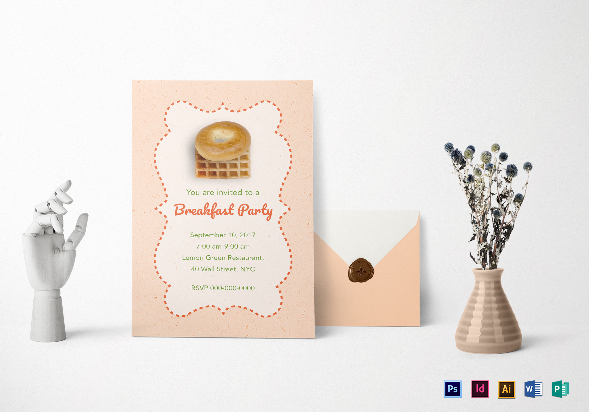 Pink Breakfast Party Invitation Template