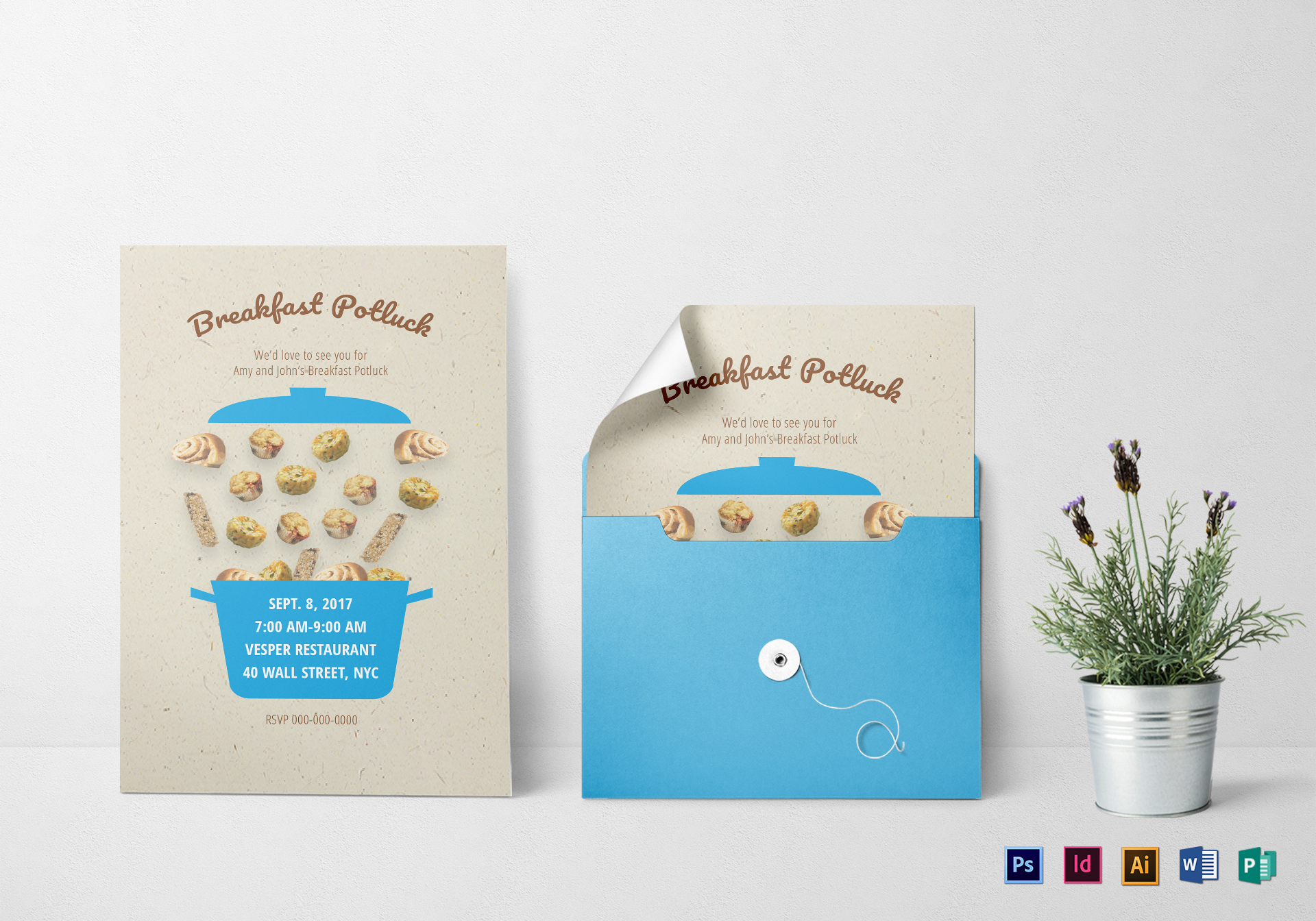 Breakfast Potluck Invitation Template
