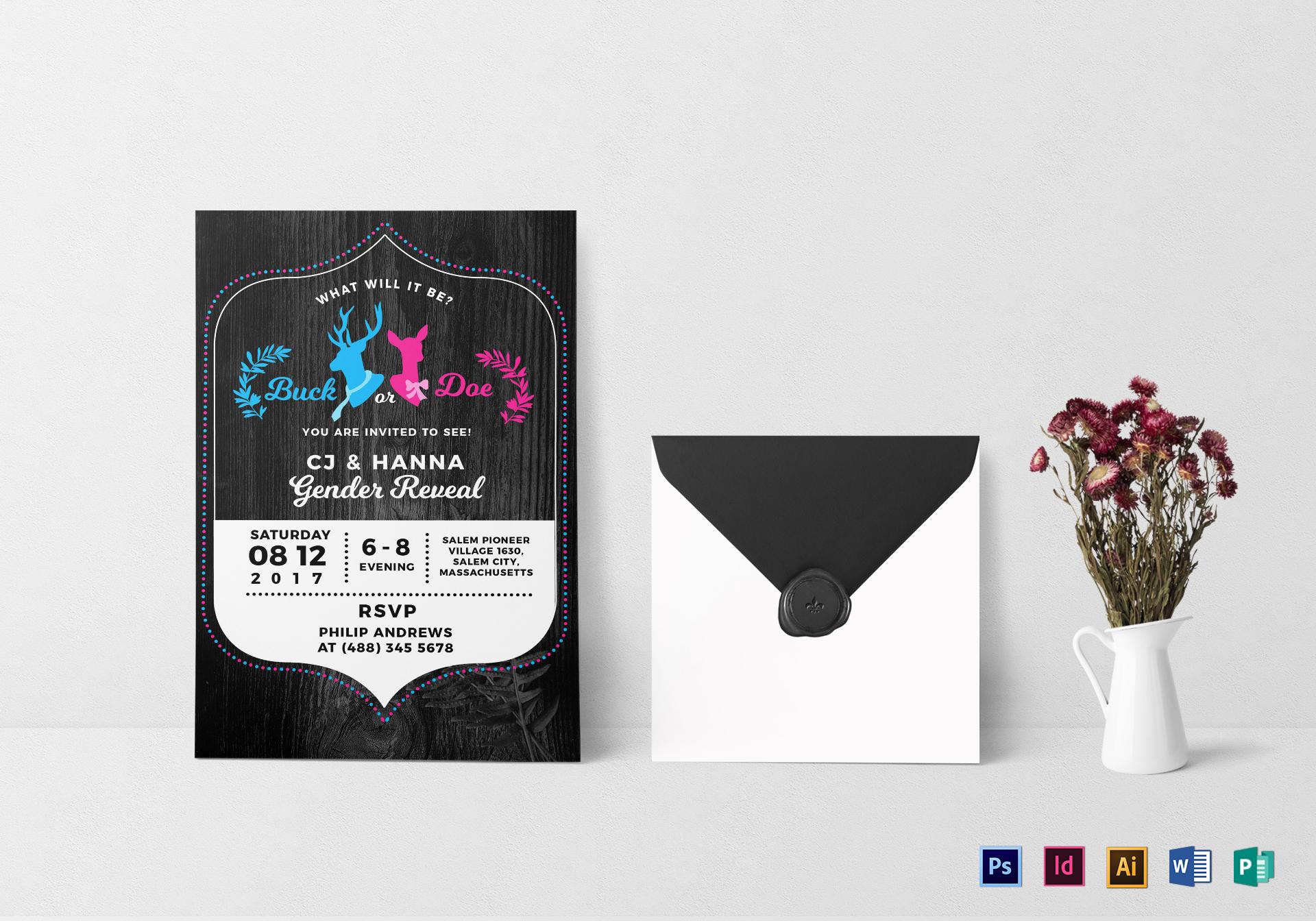 Buck or Doe Gender Reveal Invitation Design Template in PSD, Word ...