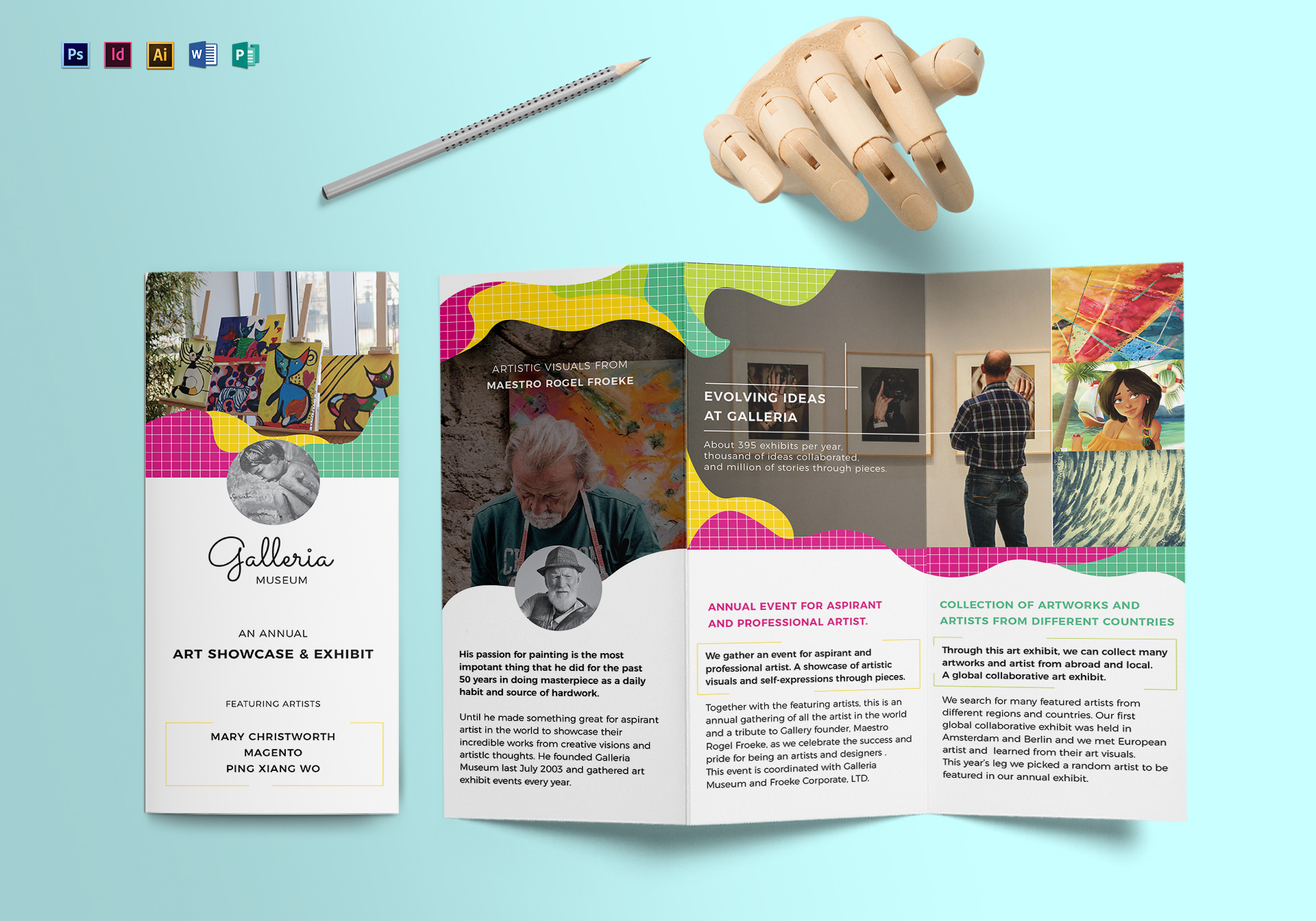 Event And Artistic Tri Fold Brochure Design Template In PSD Word - Event brochure template